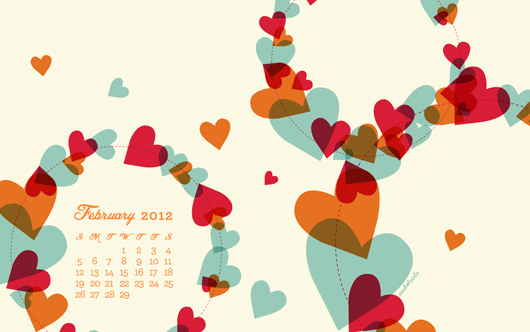 February 2012 Desktop, iPhone & iPad Calendar Wallpaper