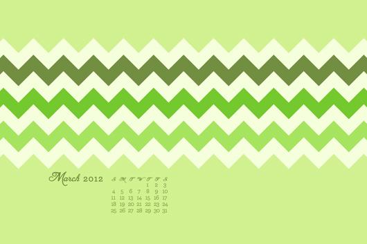free march calendar green chevron wallpaper