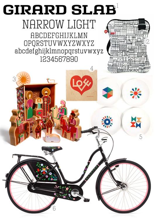 Alexander Girard Fonts Plates and Bike