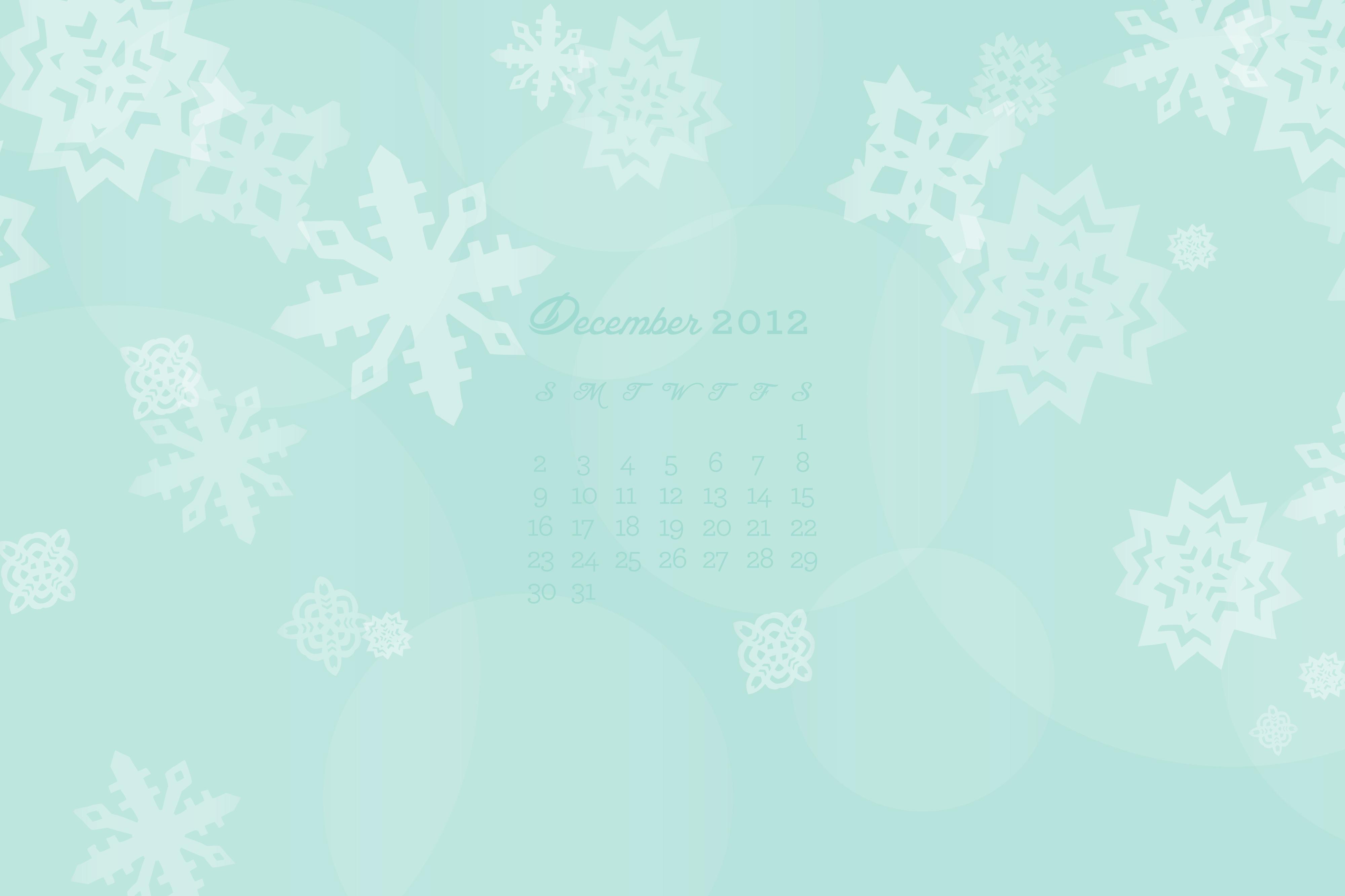 December 2012 Calendar Wallpaper
