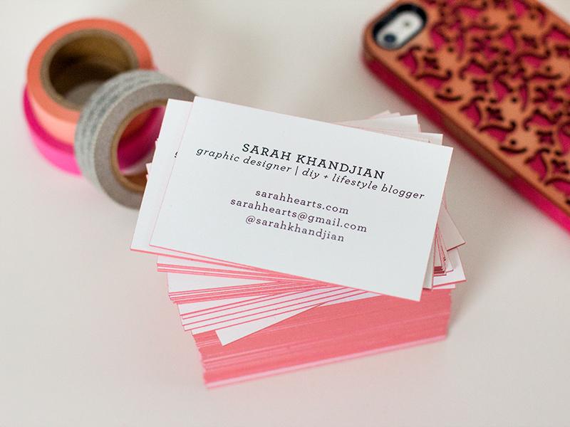 DIY Edge Painted Business Cards by Sarah Hearts - Sarah Hearts