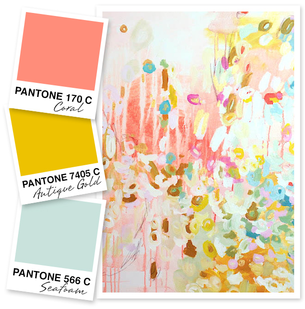 Coral Antique Gold And Seafoam Green Color Palette