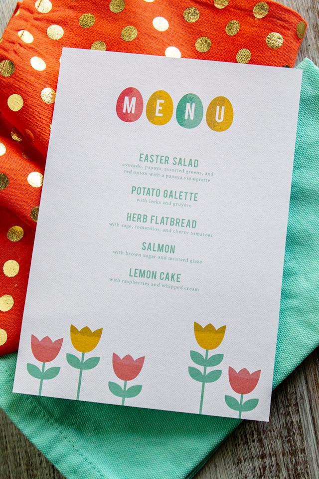 Brunch Ideas For Easter: Printable Easter Menus