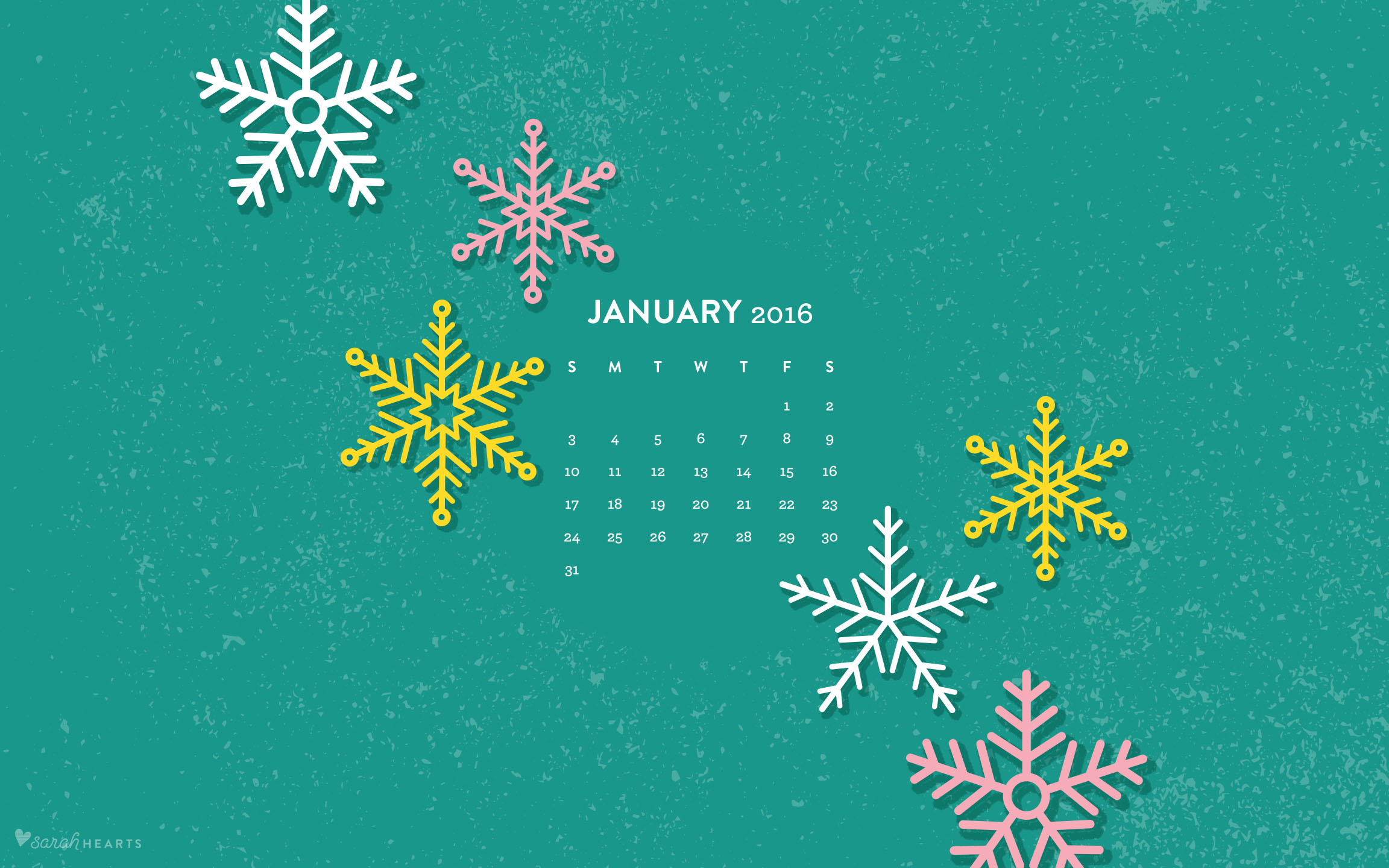January 2016 Calendar Wallpaper Sarah Hearts