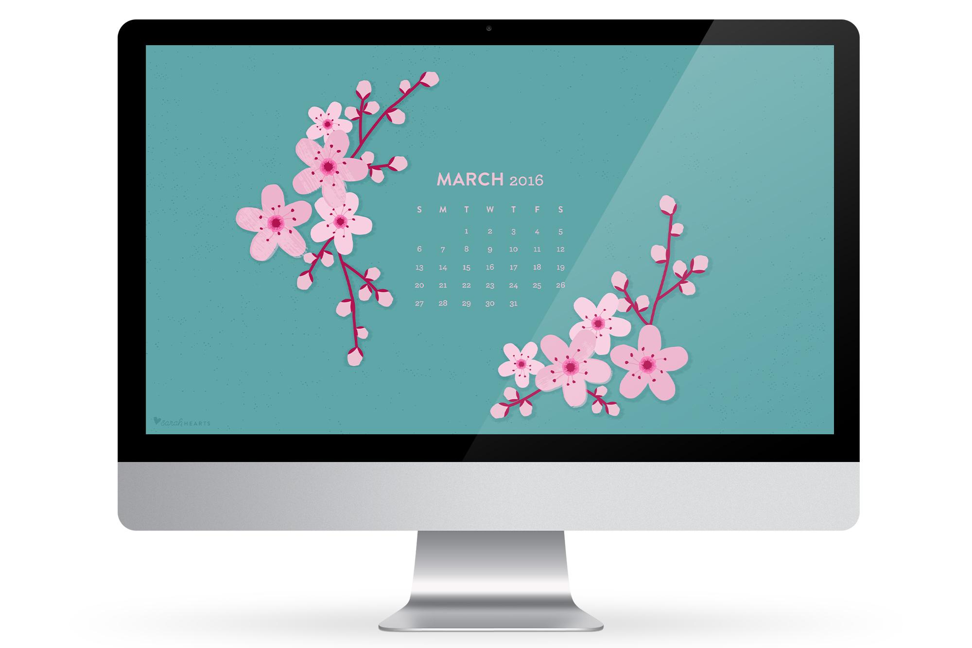 March Calendar Wallpaper Hd : March cherry blossom calendar wallpaper sarah hearts