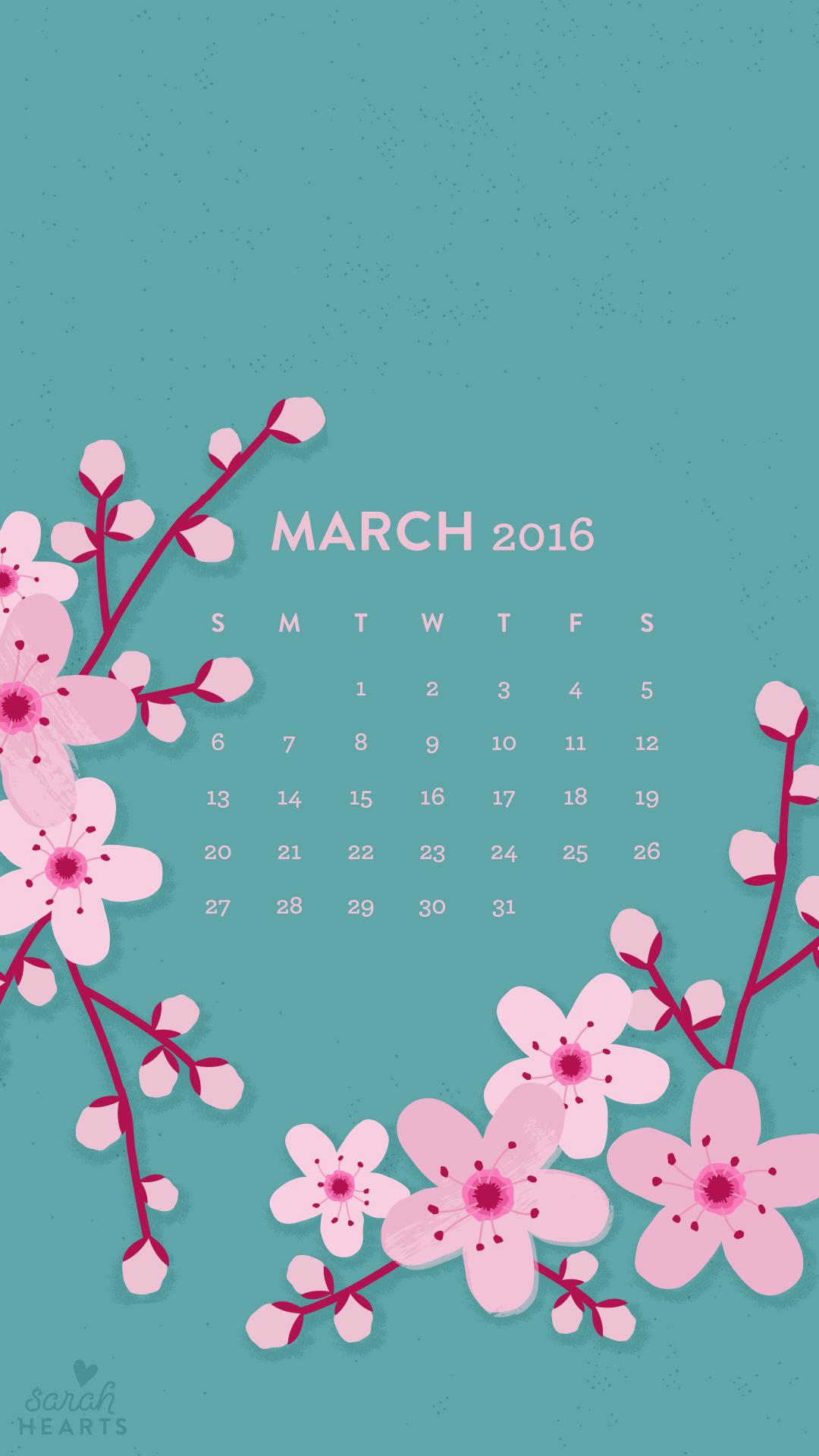 Excellent March 2016 Cherry Blossom Calendar Wallpaper Sarah Hearts Download Free Architecture Designs Xoliawazosbritishbridgeorg