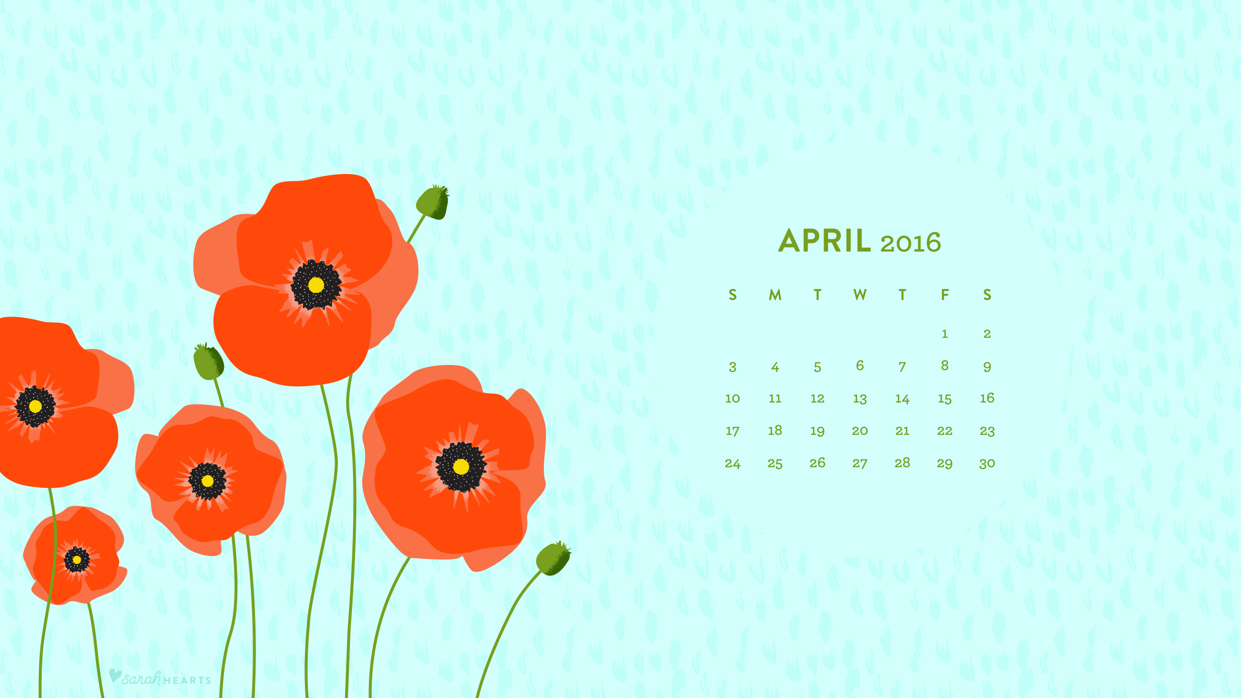 April 2016 Poppy Calendar Wallpaper Sarah Hearts