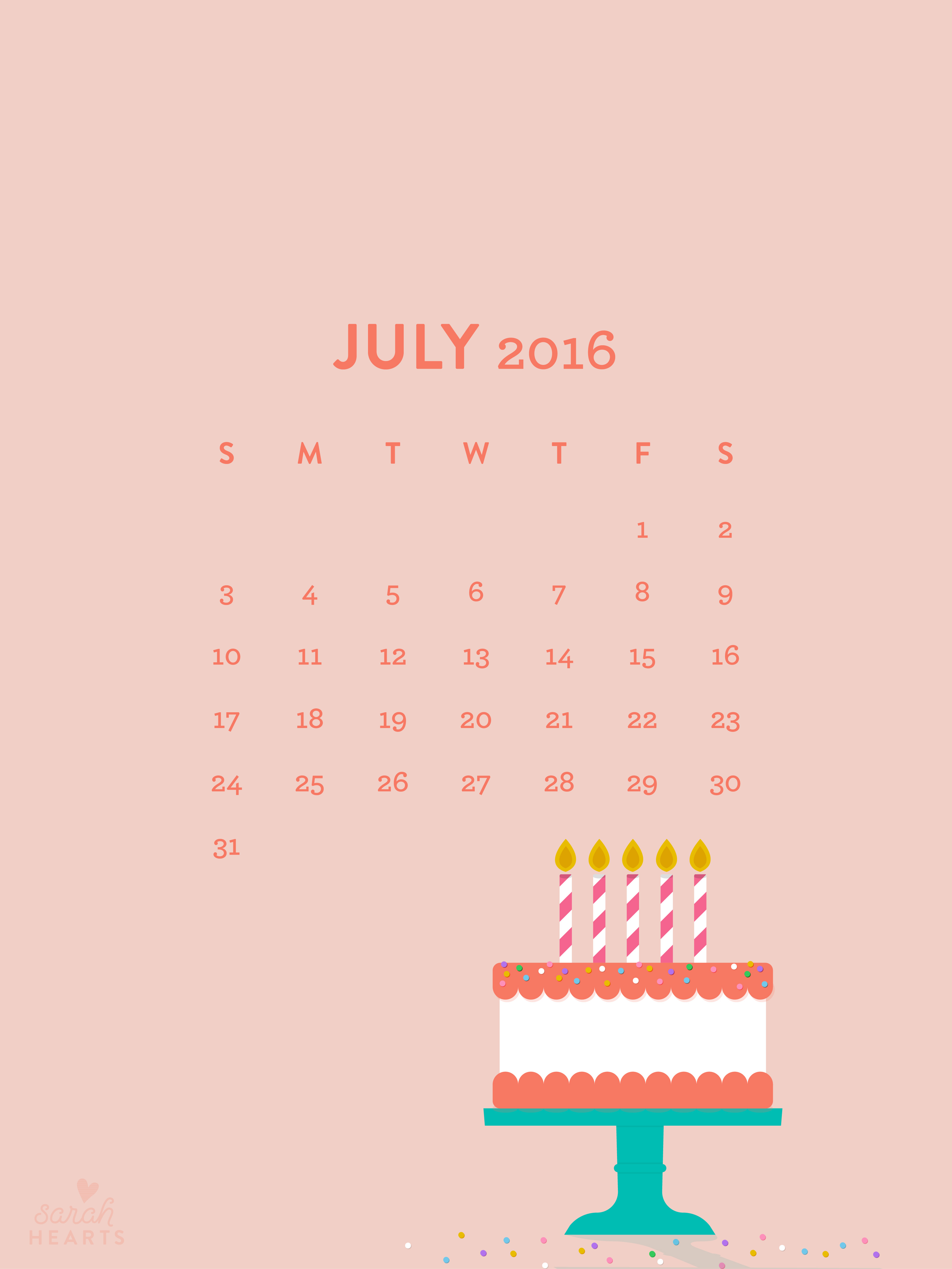 Calendar Wallpaper Ipad : July birthday cake calendar wallpaper sarah hearts