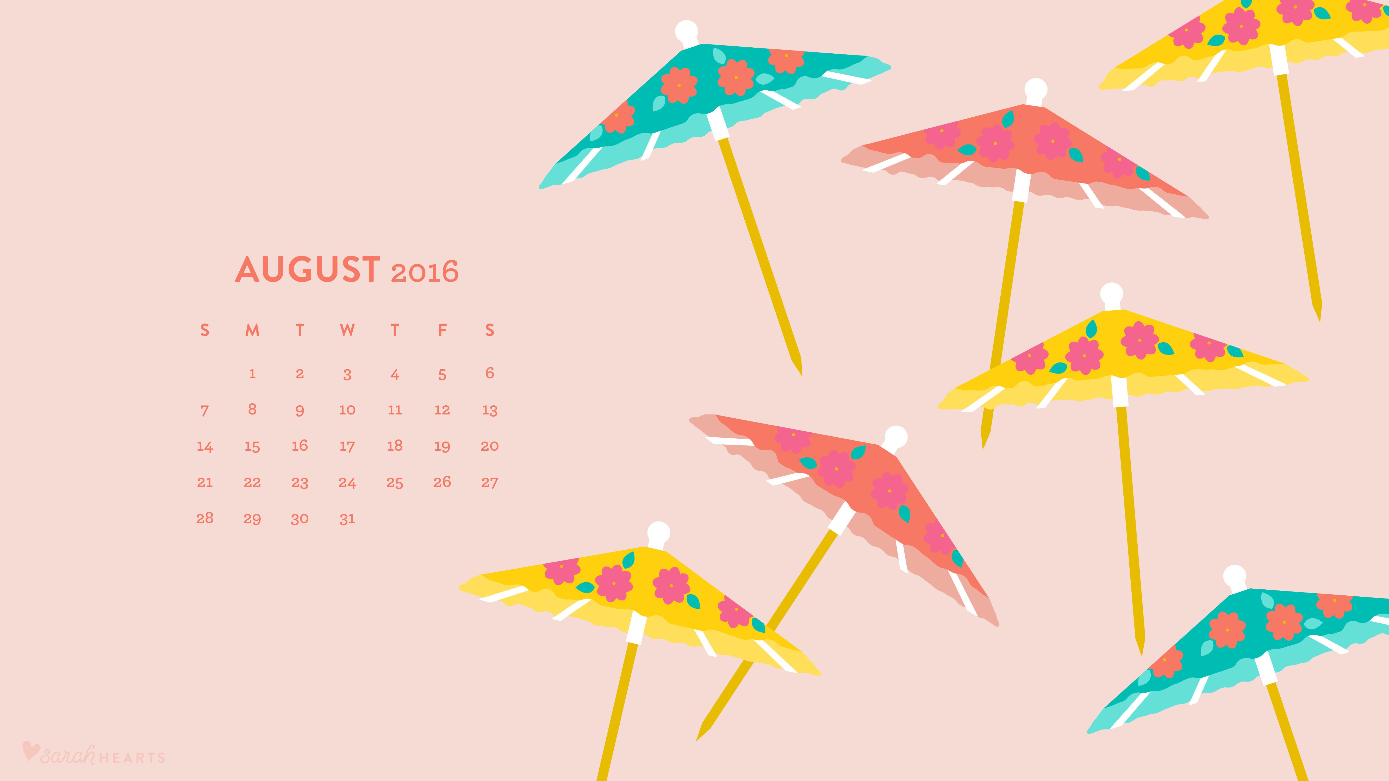 August 2016 Drink Umbrella Wallpaper
