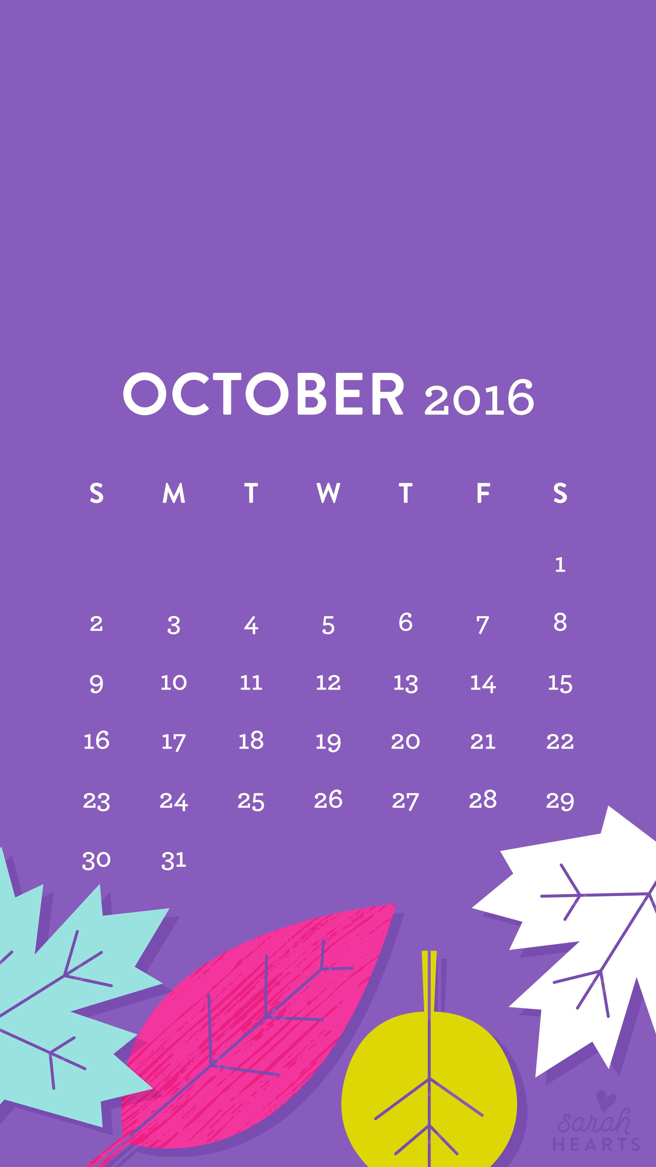October 2016 Fall Leaves Calendar Wallpapers Sarah Hearts