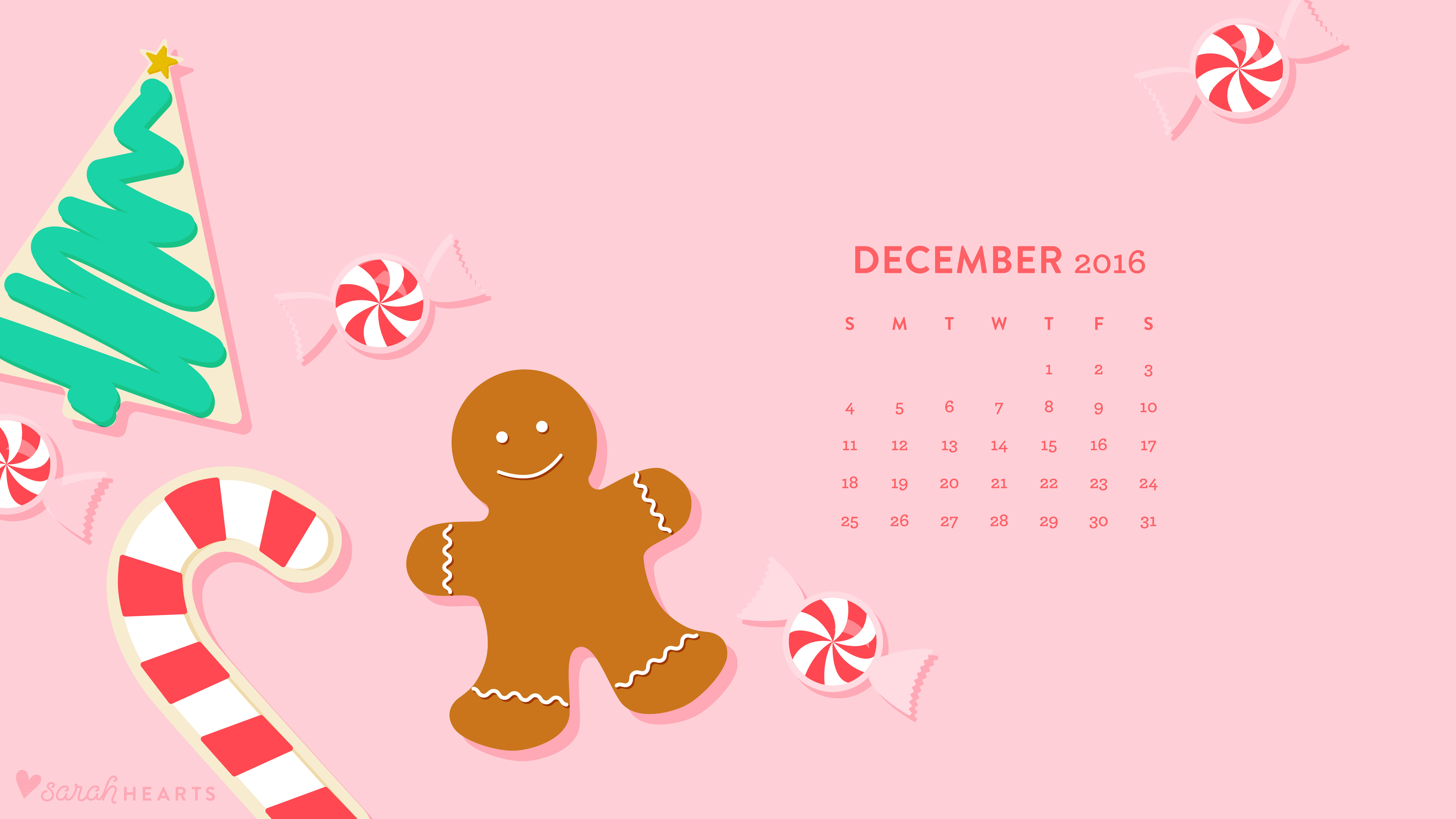 December 2016 Christmas Cookie Calendar Wallpaper , Sarah Hearts