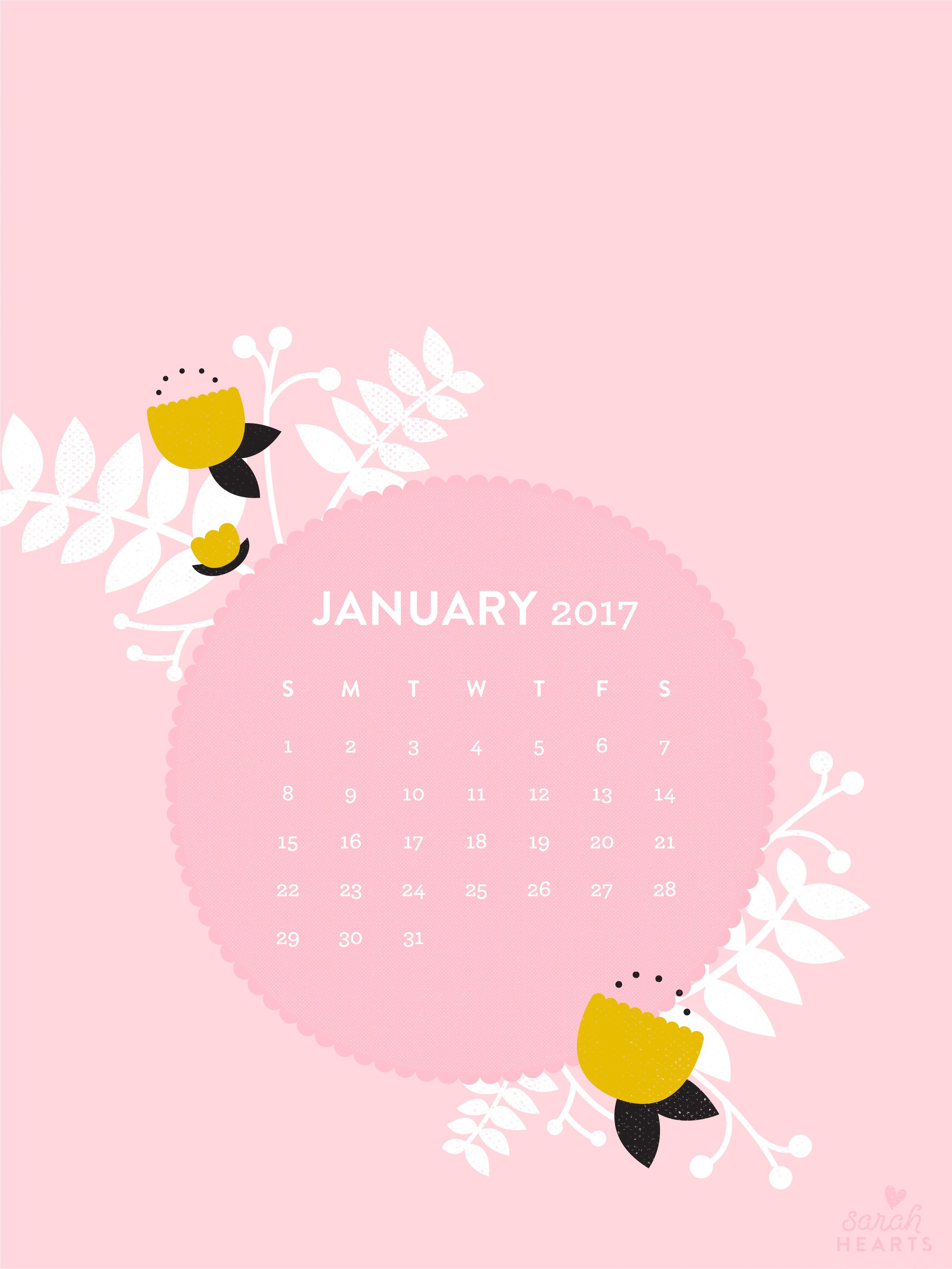 Calendar Wallpaper January 2017 : January calendar wallpaper sarah hearts