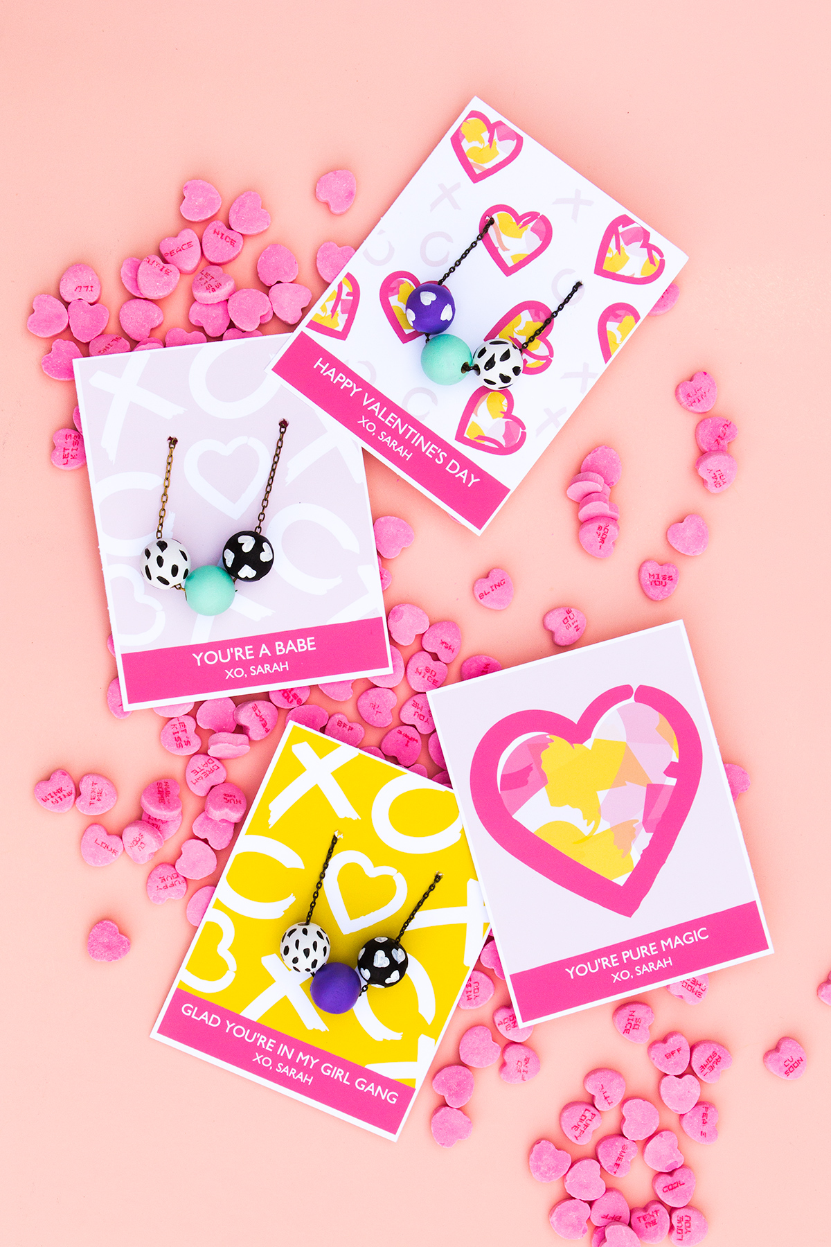 printable valentine u0026 39 s day necklace cards