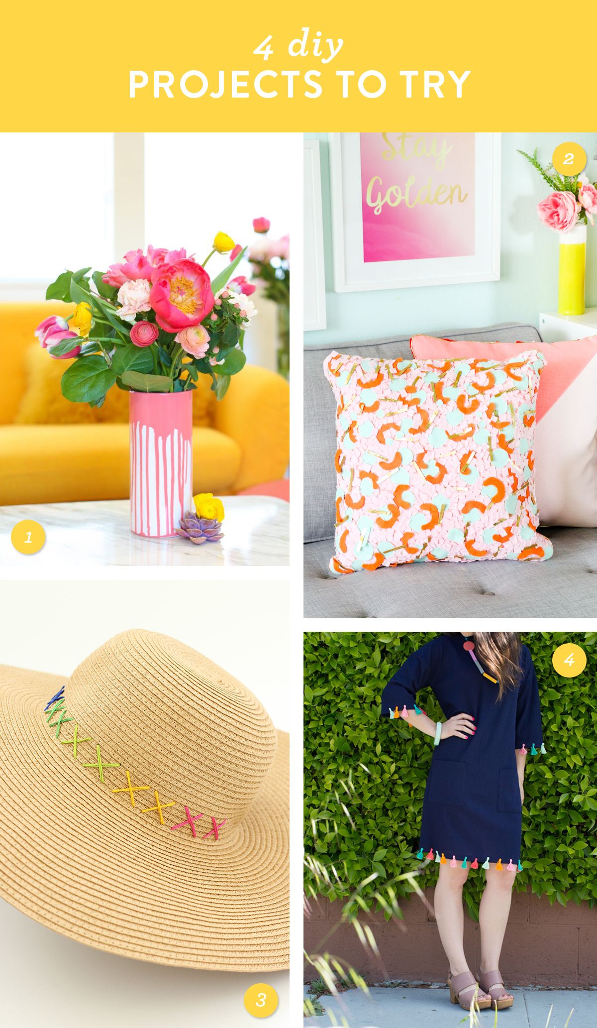 Try one of these colorful home decor or fashion DIY projects this weekend!