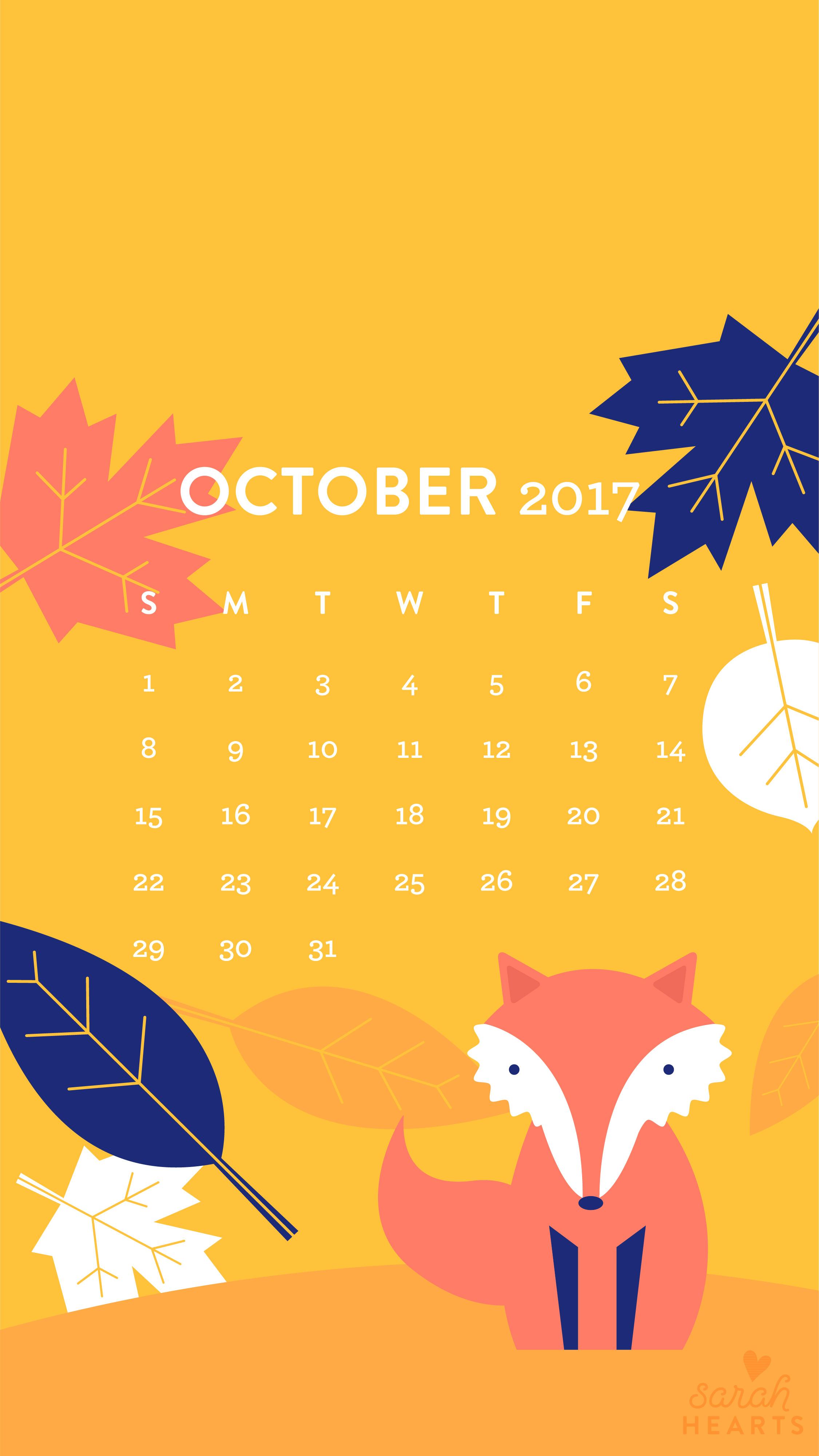 Fall Leaf And Fox October 2017 Calendar Wallpaper Sarah Hearts