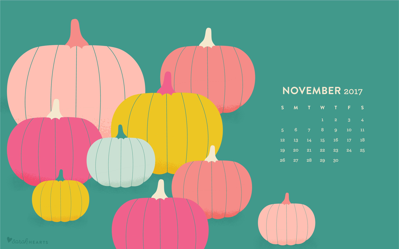 Desktop Calendar Wallpaper Creator : November 2017 pumpkin calendar wallpaper sarah hearts