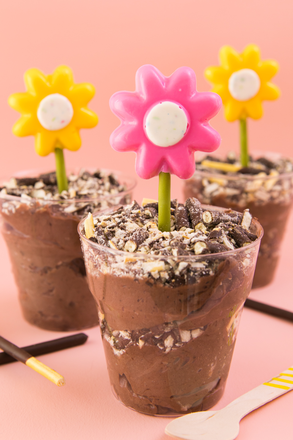 Both kids and adults will love these chocolate mousse Pocky dirt cups!