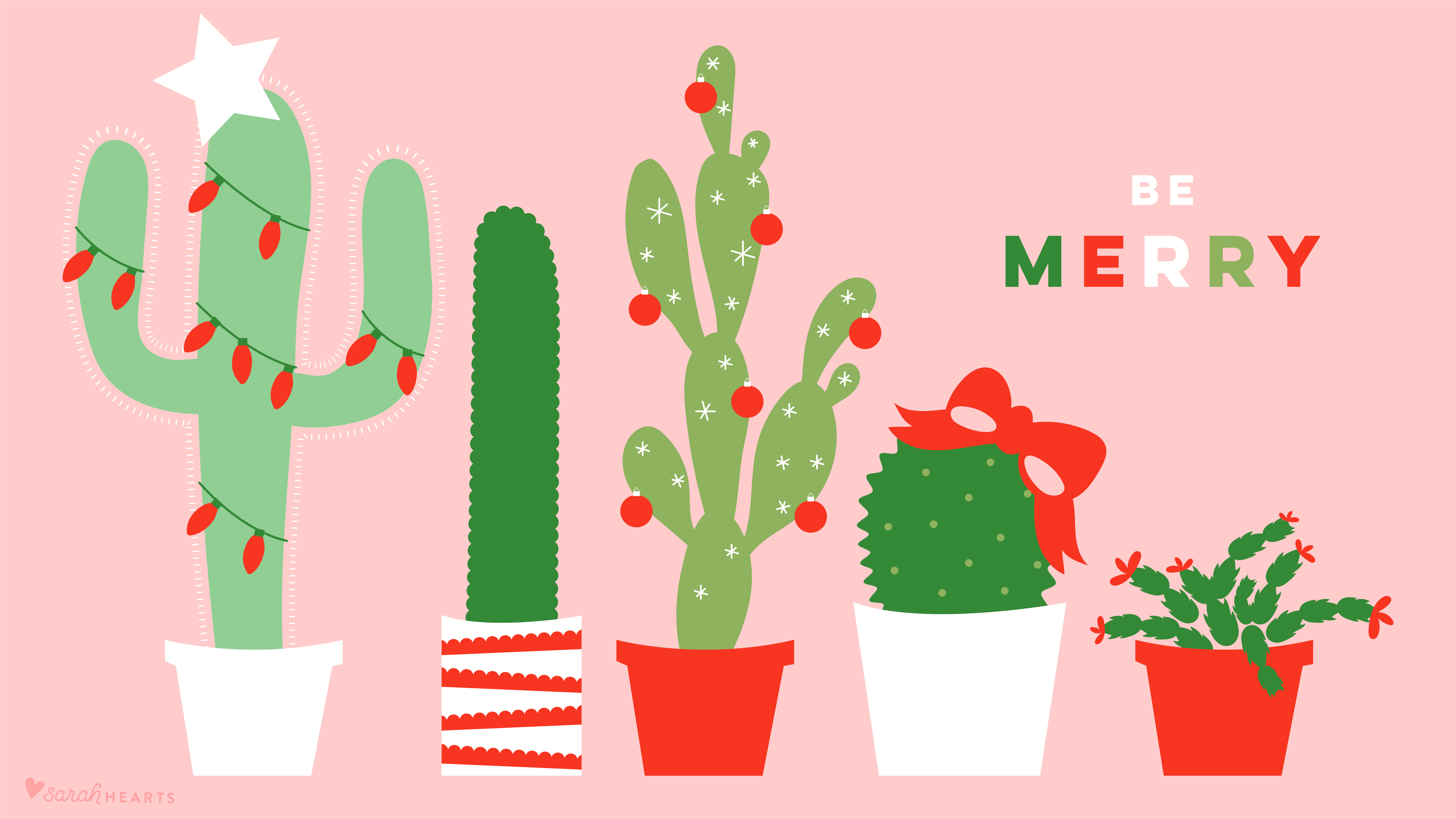 December 2017 Christmas Cactus Calendar Wallpaper , Sarah Hearts