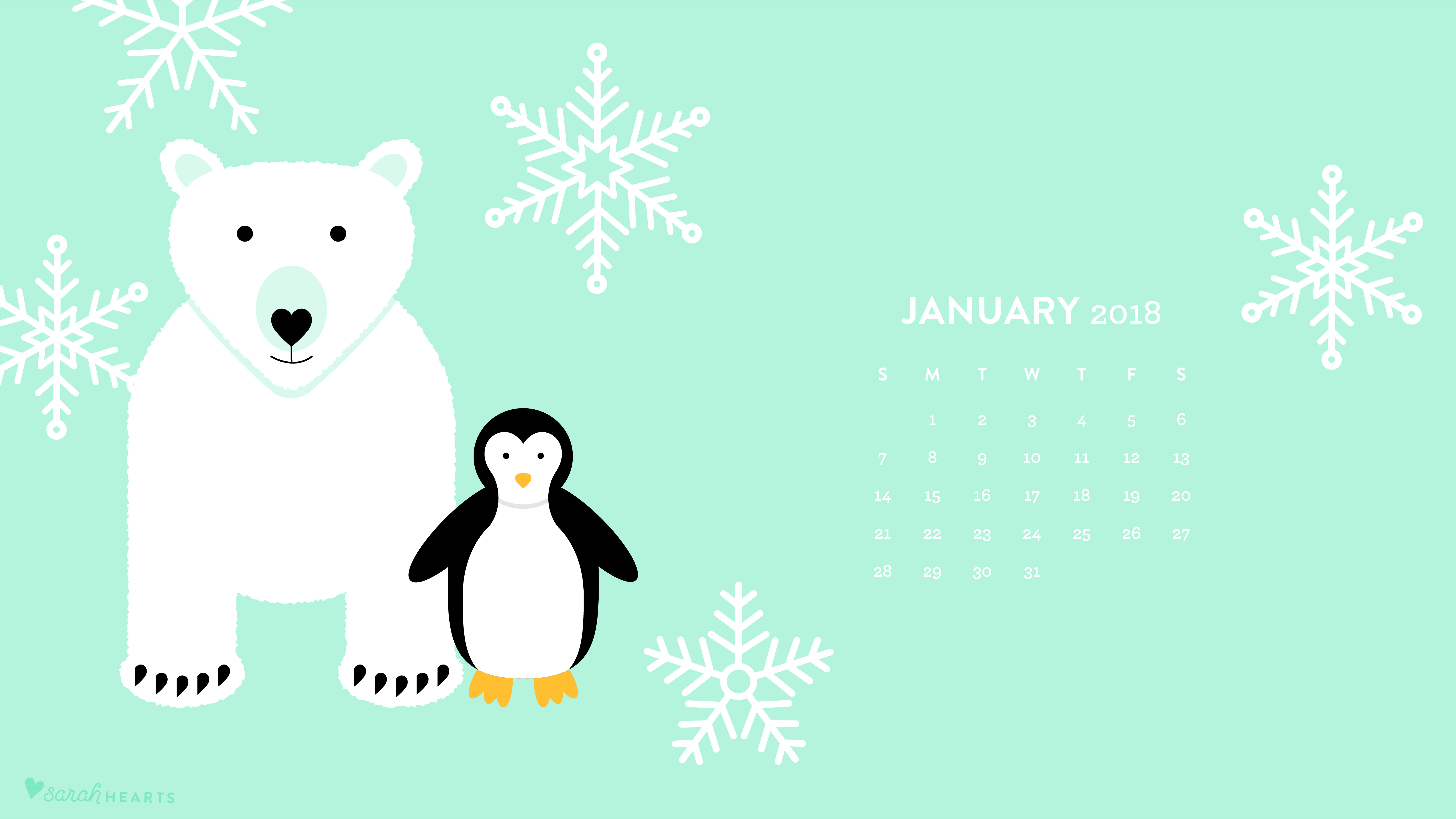 polar bear and penguin january 2018 calendar wallpaper - sarah hearts