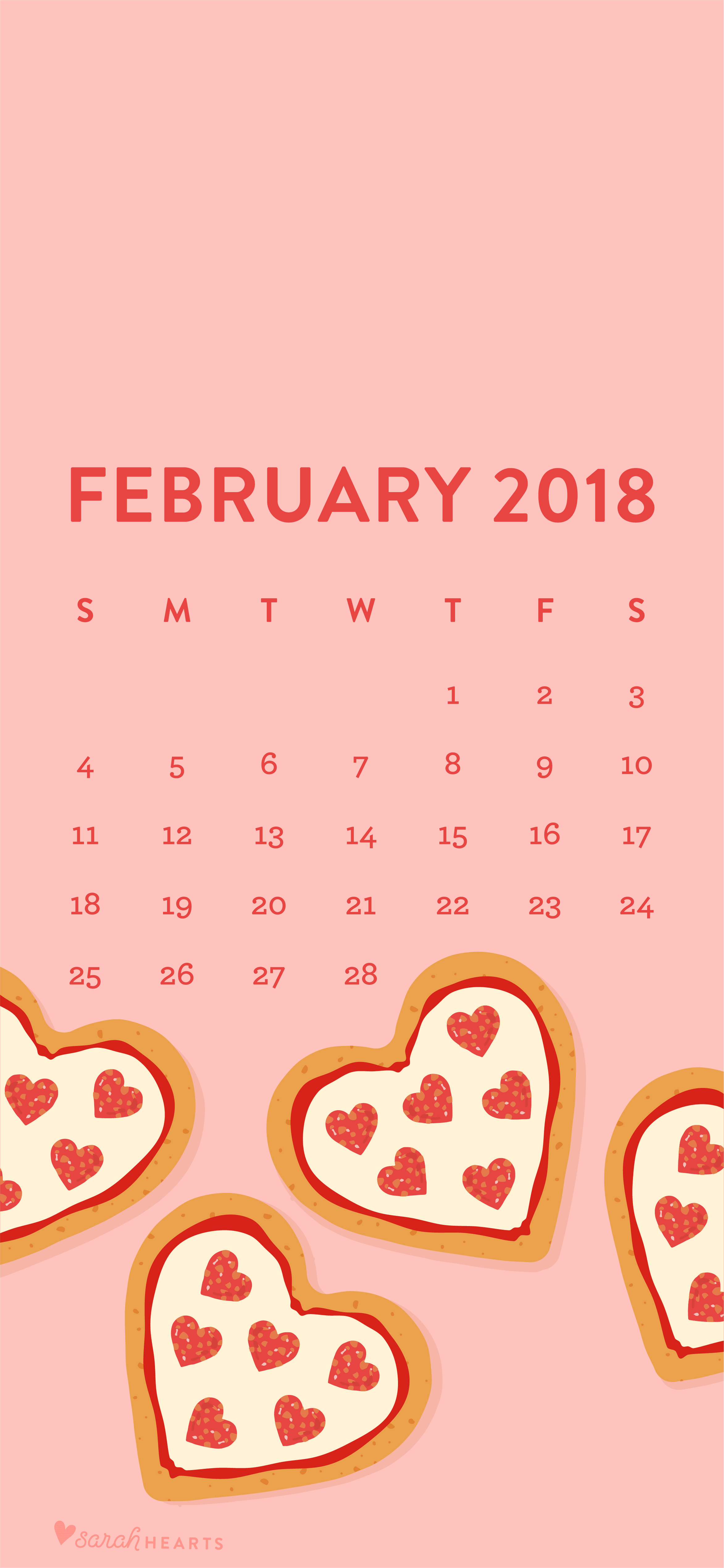 February Calendar Wallpaper Phone : Heart shaped pizza february calendar wallpaper
