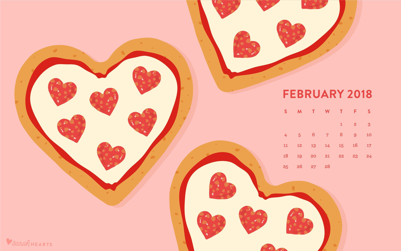 heart shaped pizza february 2018 calendar wallpaper - sarah hearts