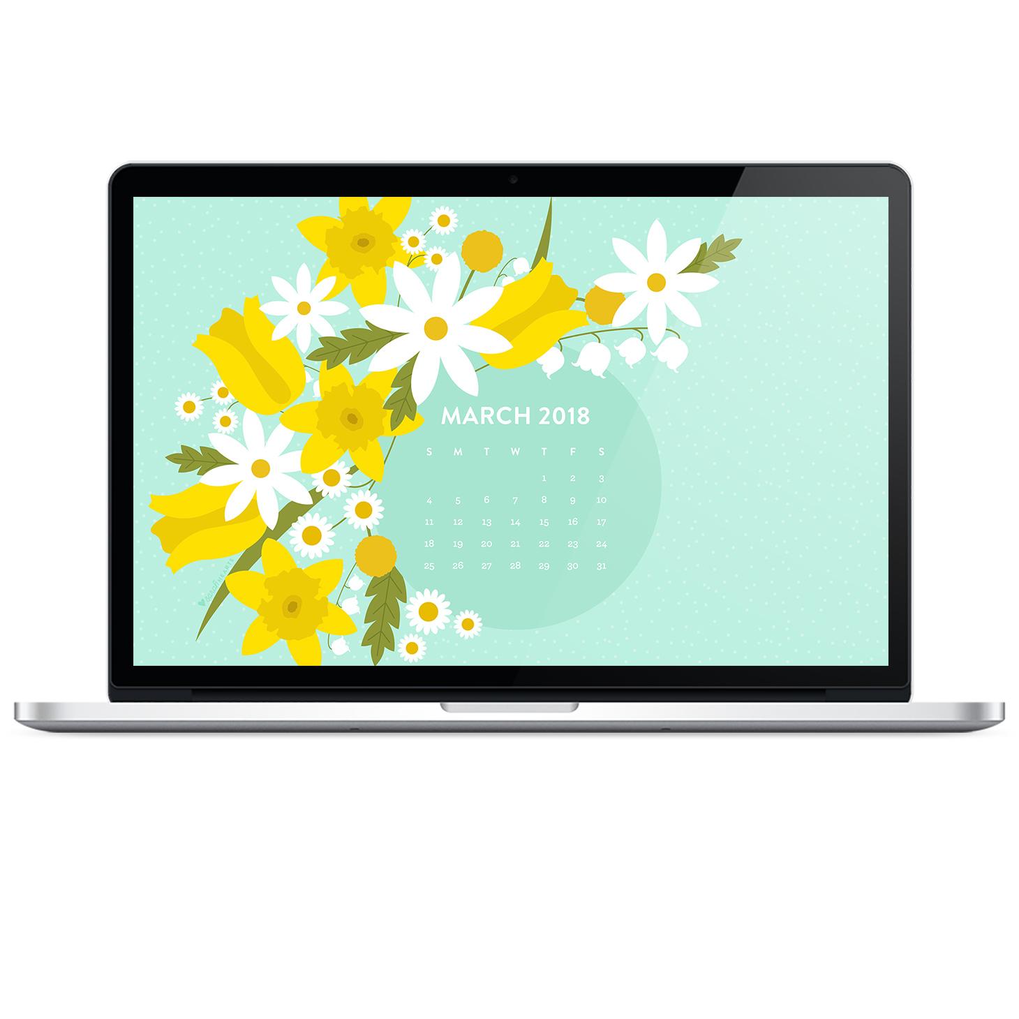 Macbook Wallpaper Calendar : March spring flower calendar wallpaper sarah hearts