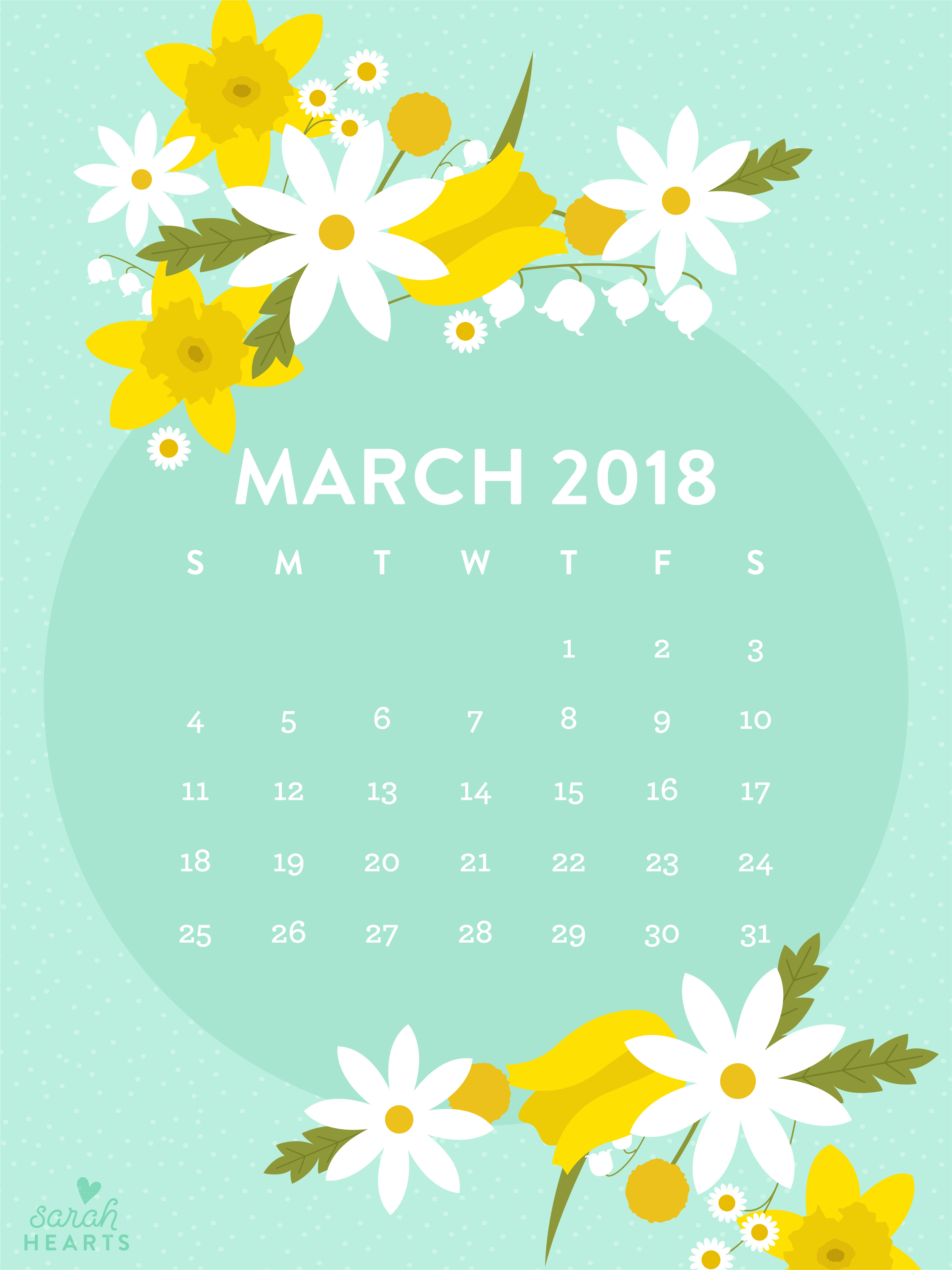 Calendar Wallpaper Ipad : March spring flower calendar wallpaper sarah hearts