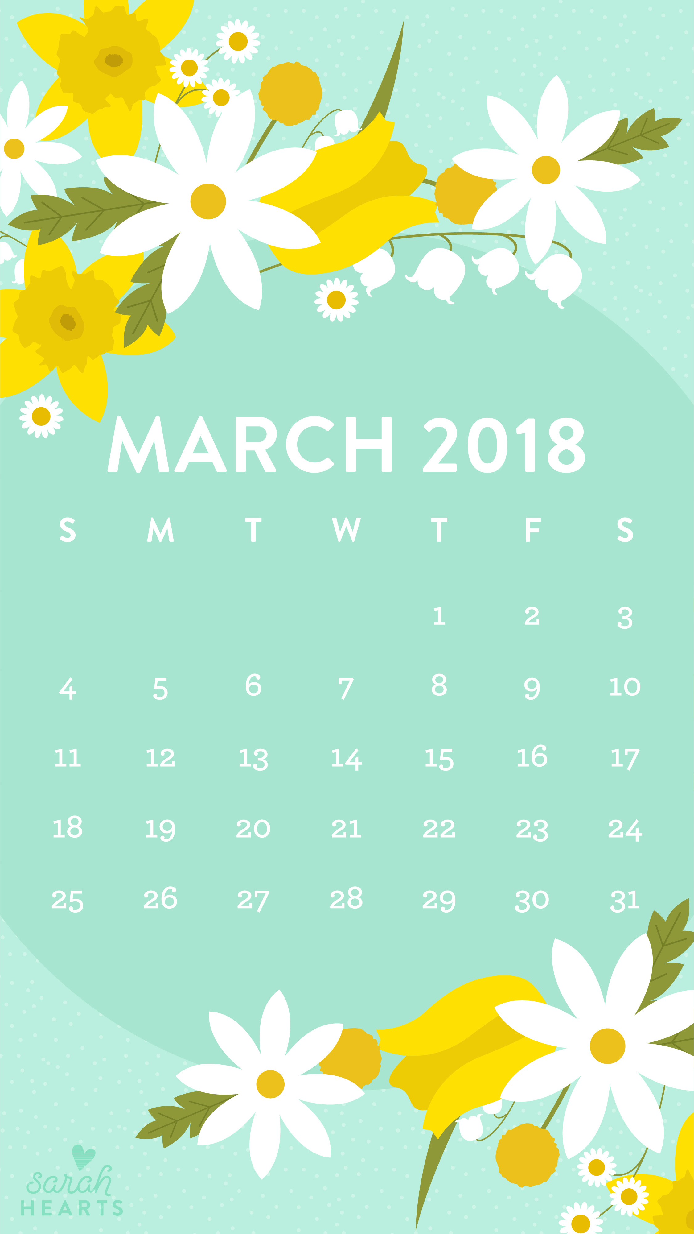 March 2018 Spring Flower Calendar Wallpaper Sarah Hearts