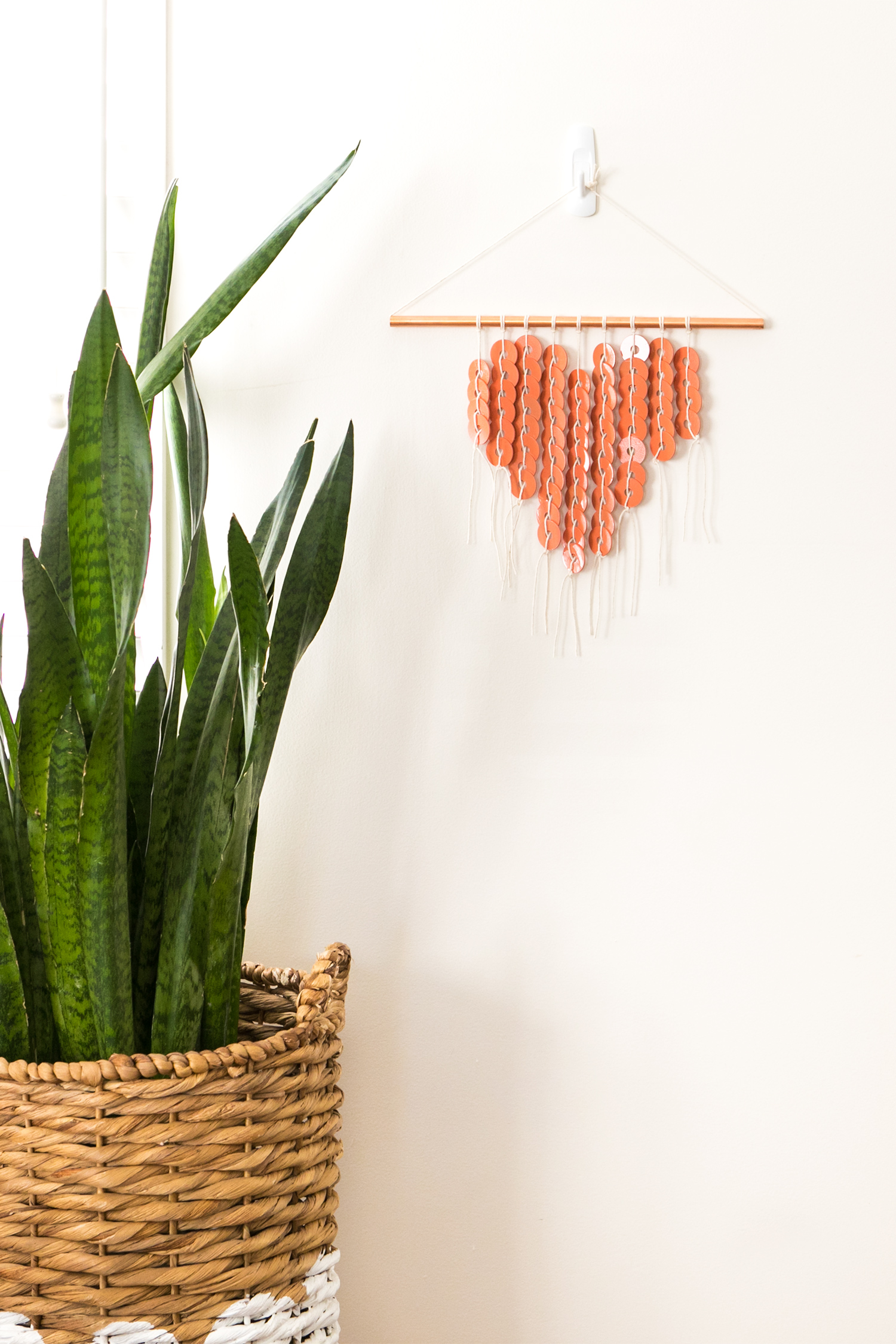 Photo of a DIY copper heart shaped wall hanging