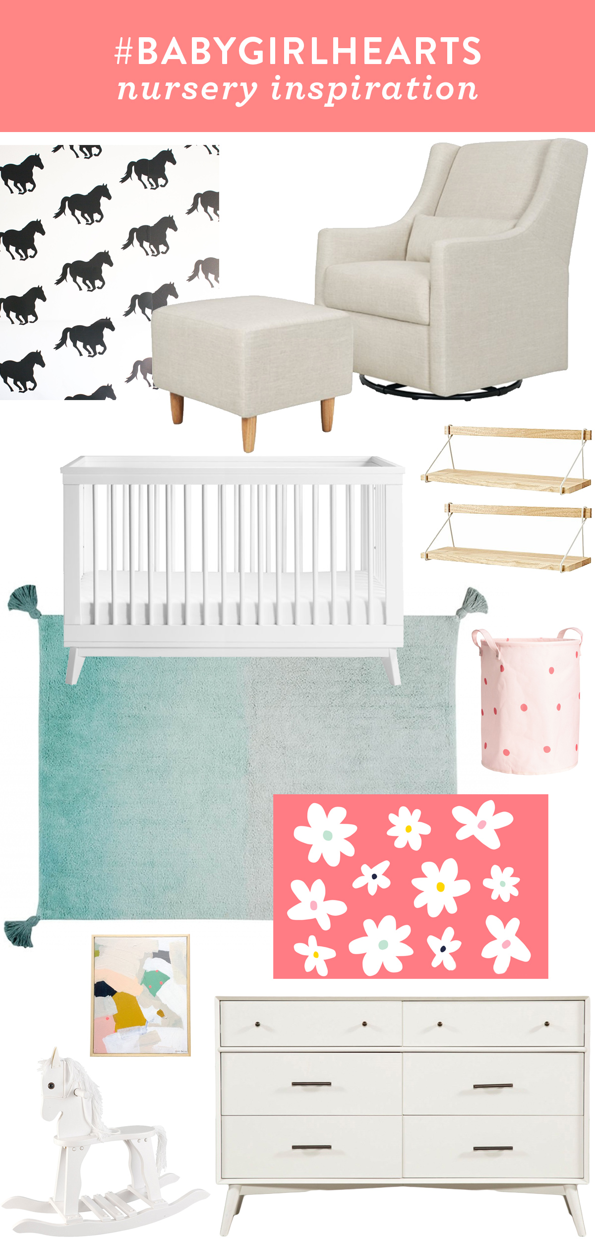 Modern, minimal baby girl nursery inspiration board with a pop of color and pattern