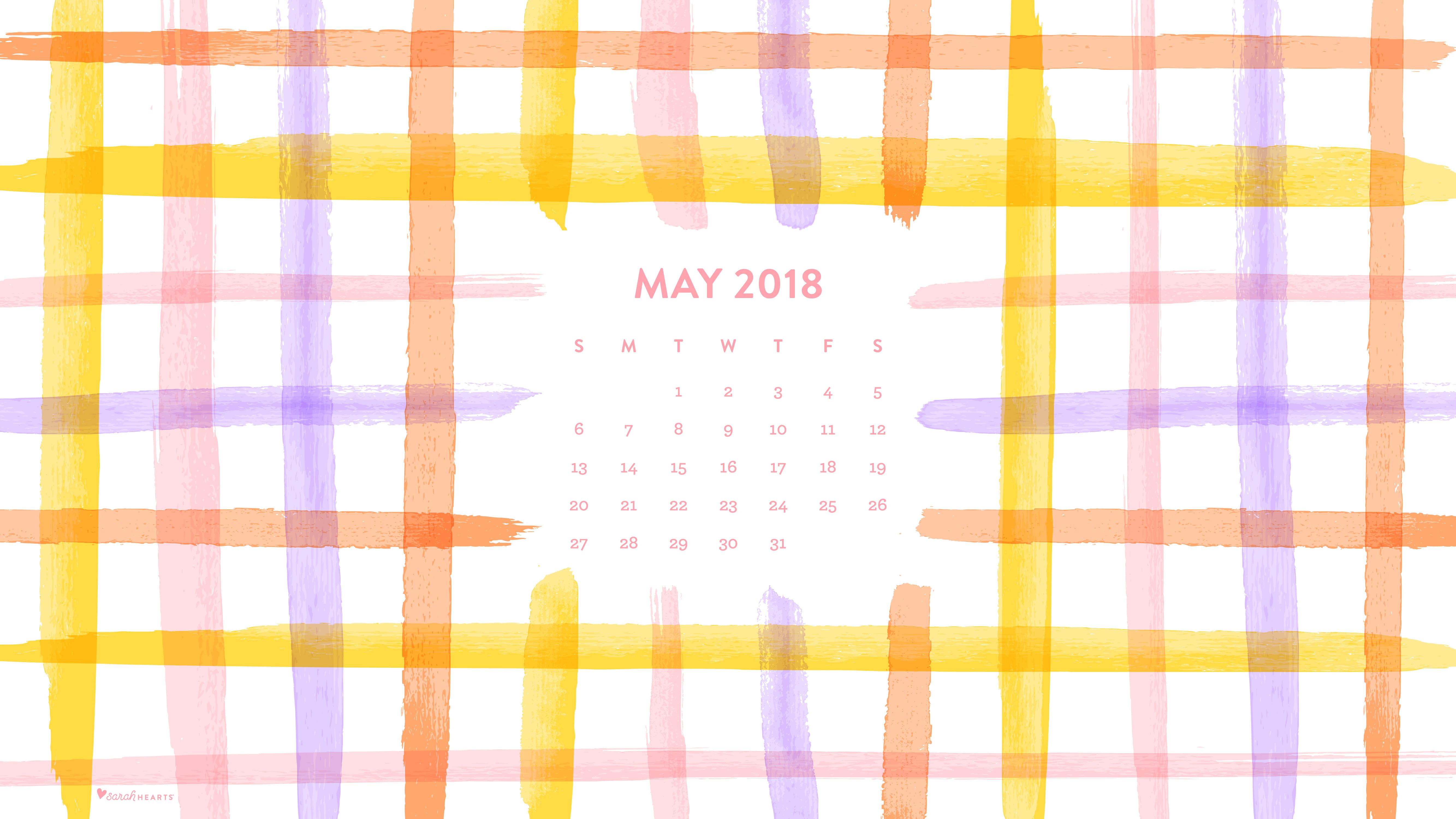 Desktop Calendar Wallpaper Creator : May 2018 spring plaid calendar wallpaper sarah hearts