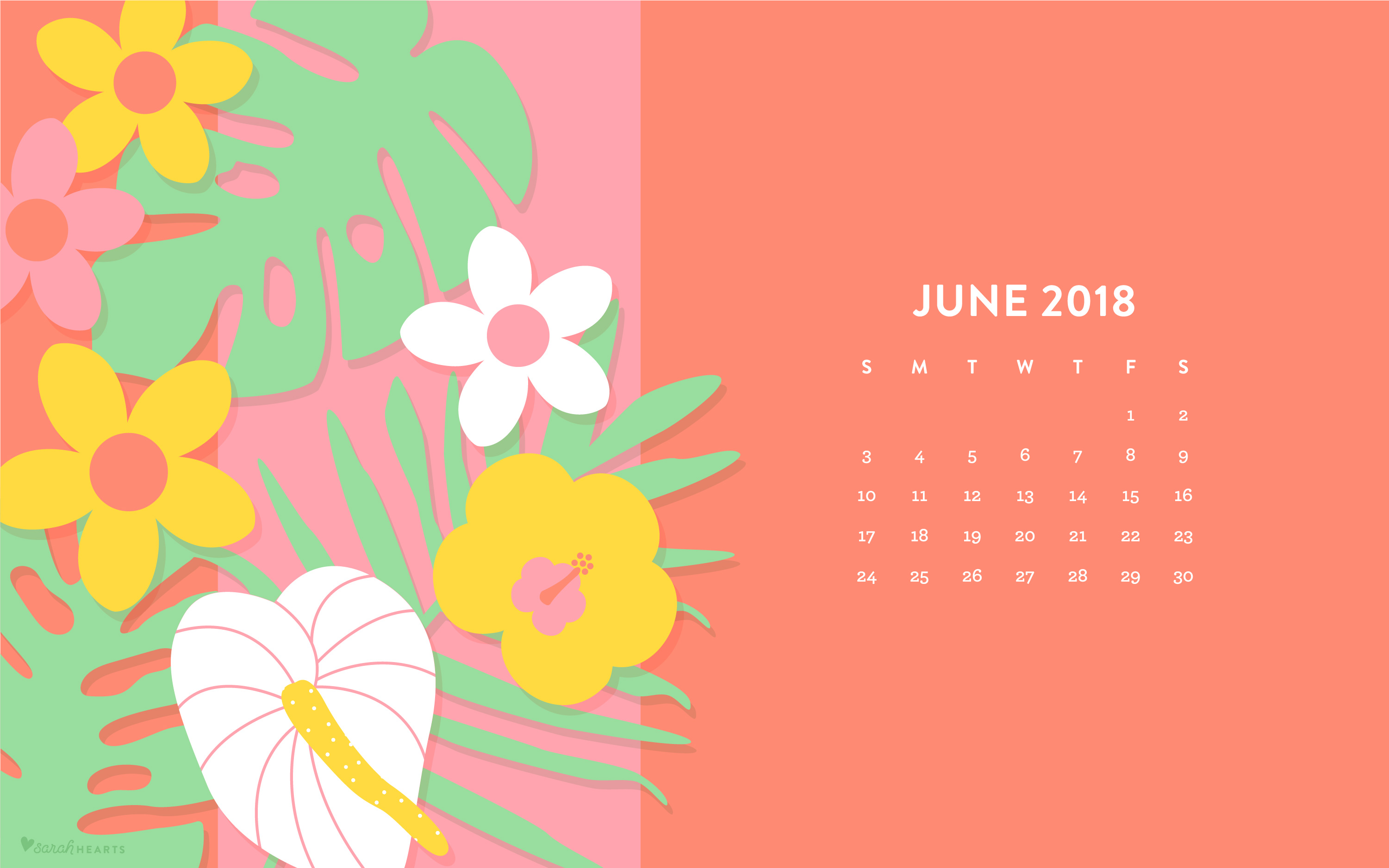 june 2018 tropical flowers wallpaper - sarah hearts