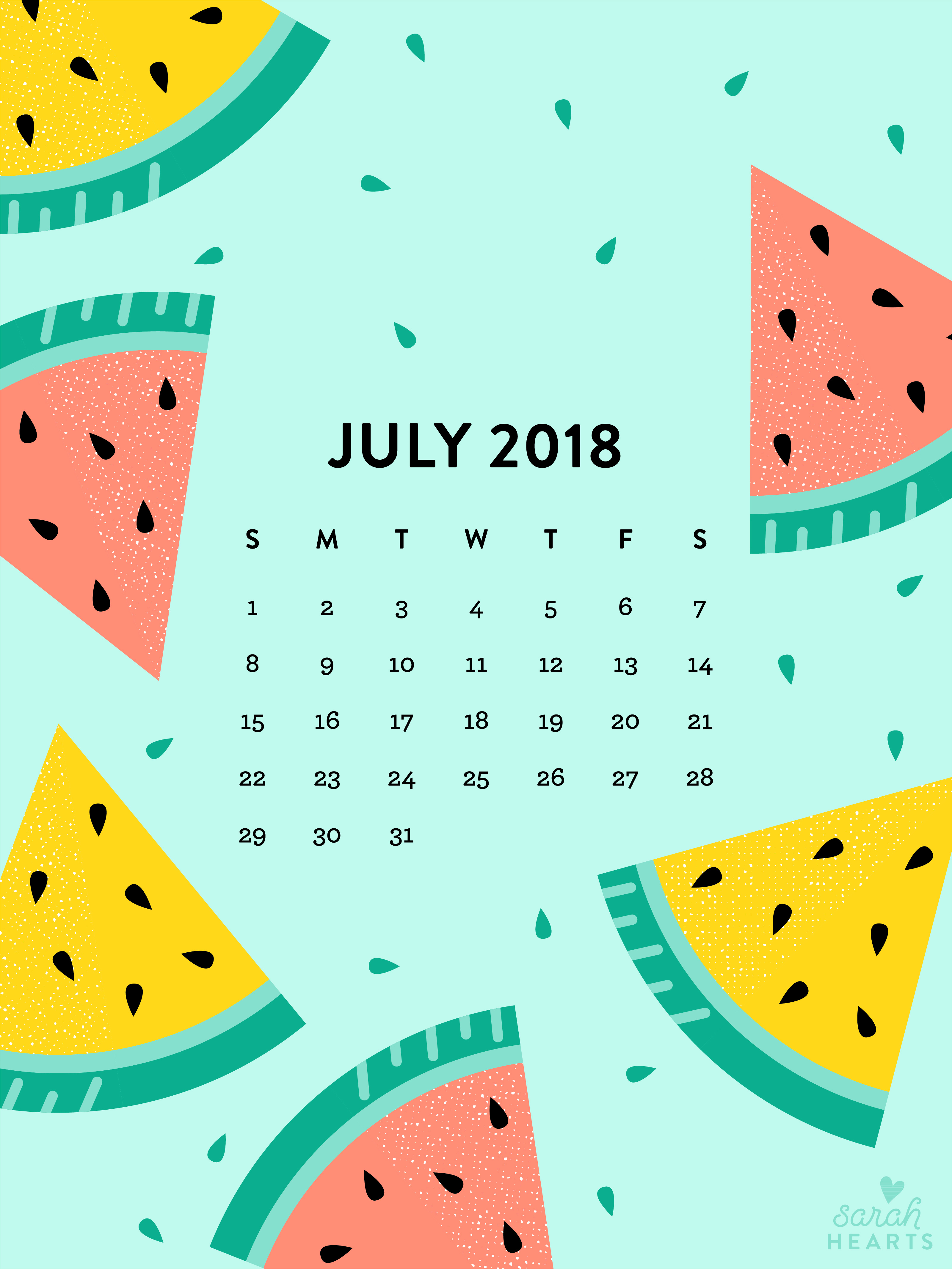 Calendar Wallpaper Ipad : July watermelon calendar wallpaper sarah hearts