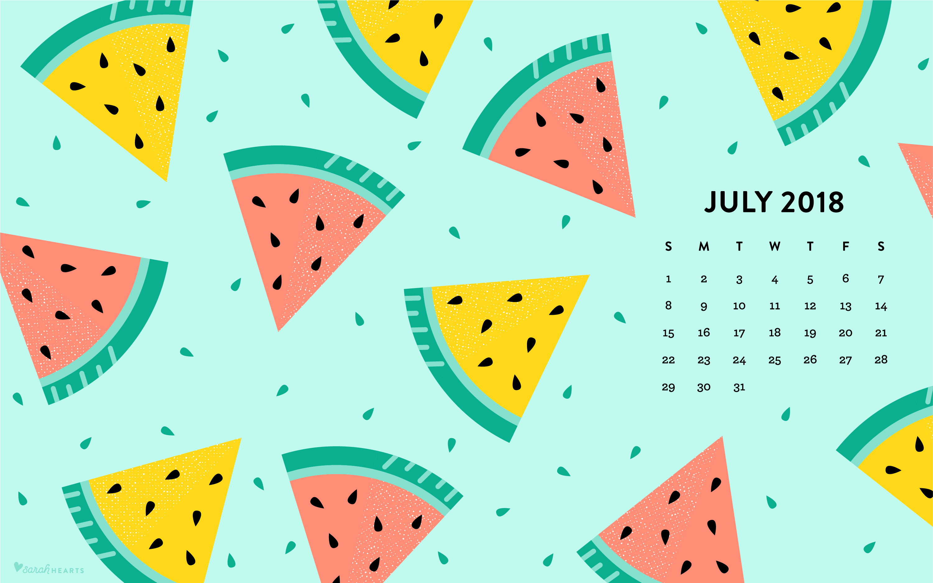 july 2018 watermelon calendar wallpaper