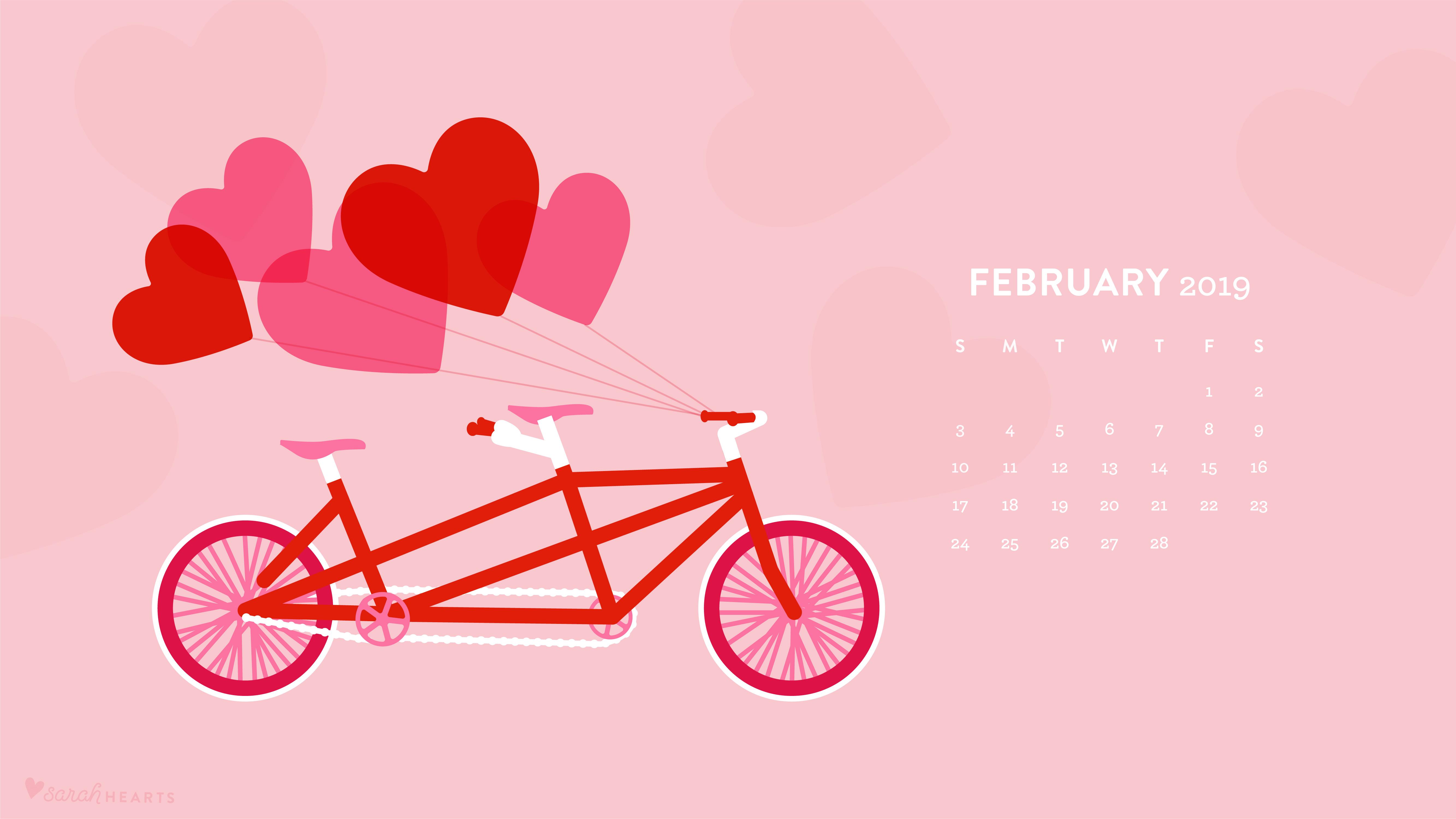 February Calendar M - F 2019 February 2019 Tandem Bike Calendar Wallpaper   Sarah Hearts