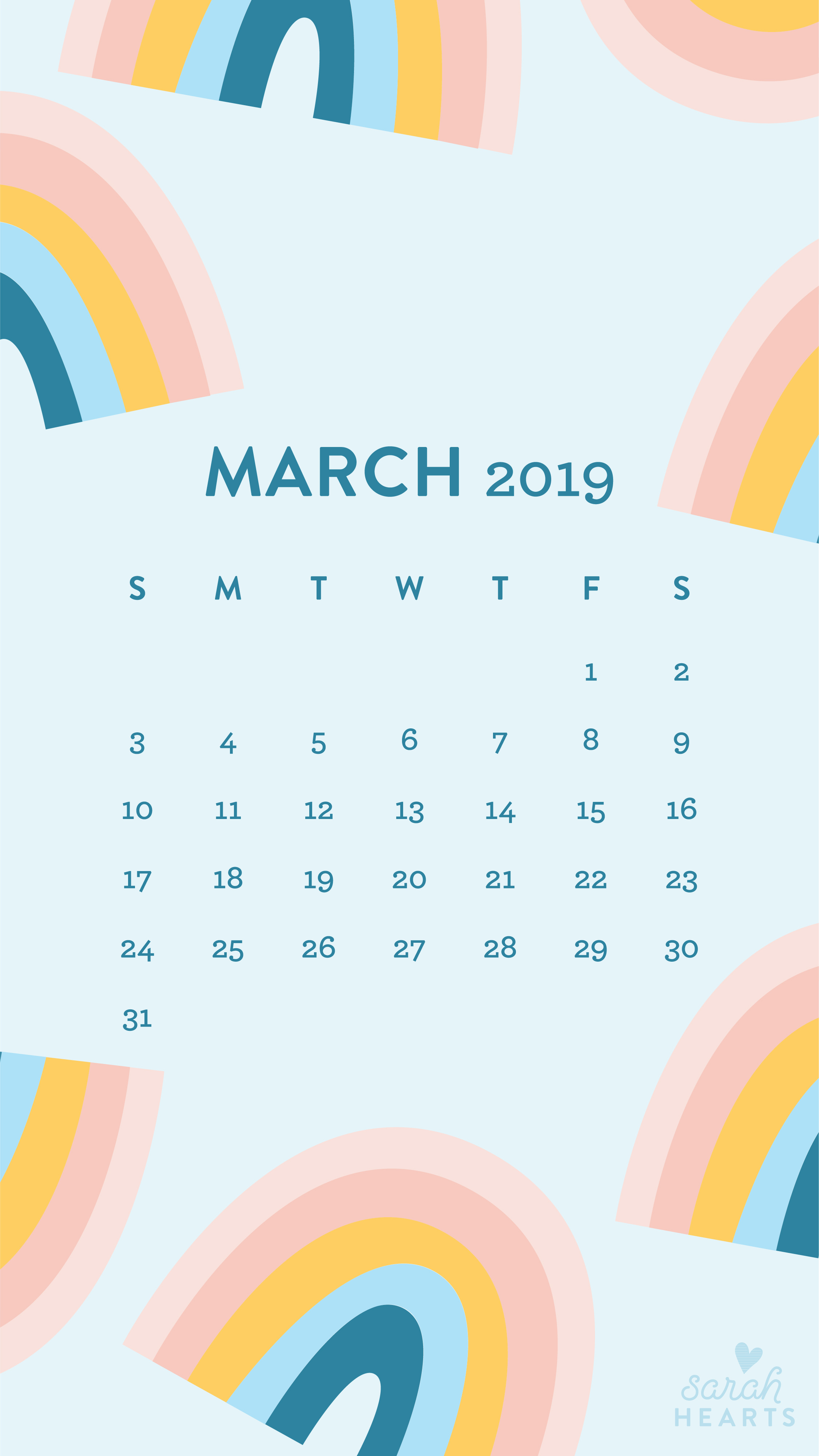 March 2019 Rainbow Calendar Wallpaper Sarah Hearts
