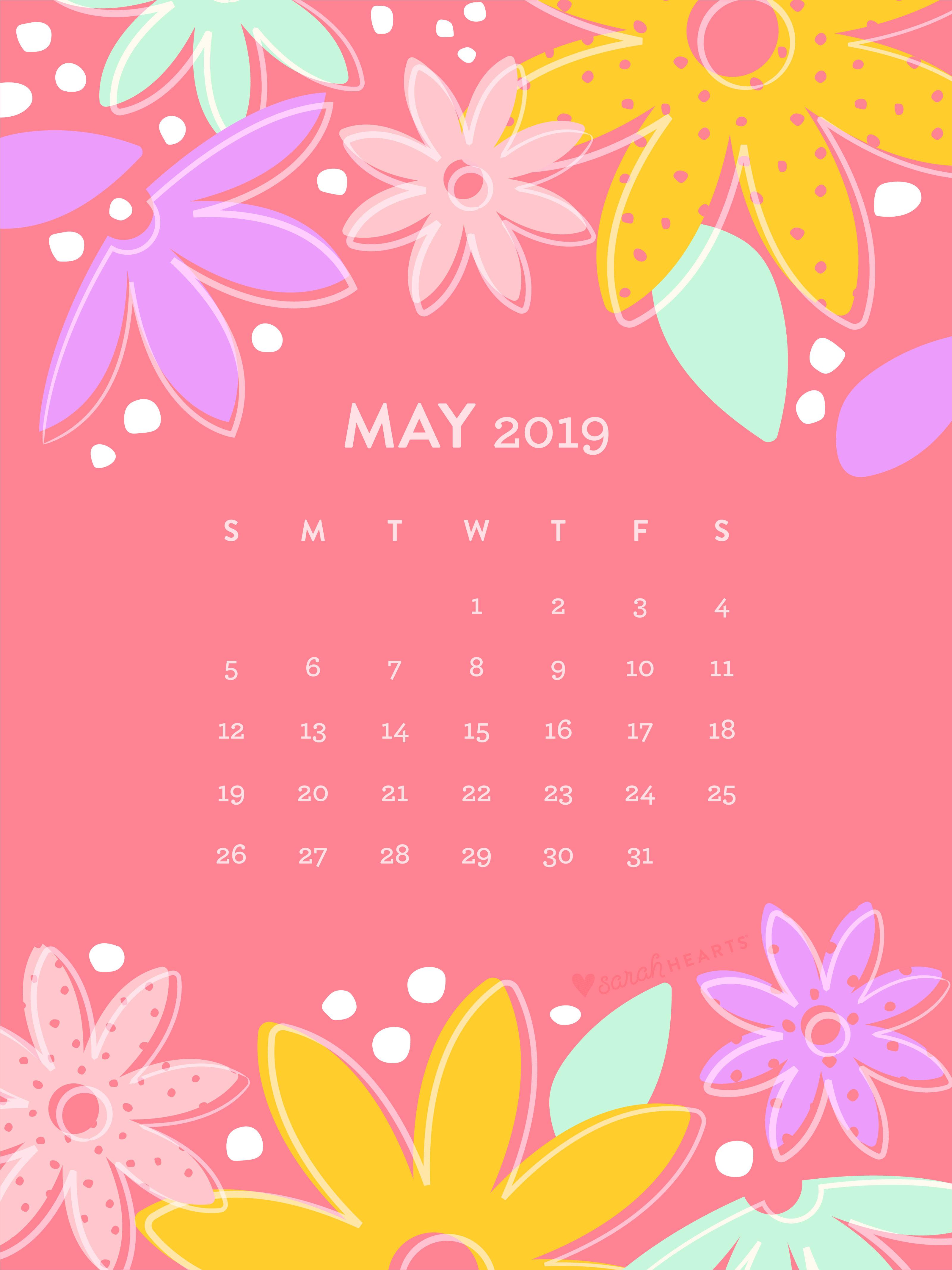 May 2019 Flower Calendar Wallpaper - Sarah Hearts