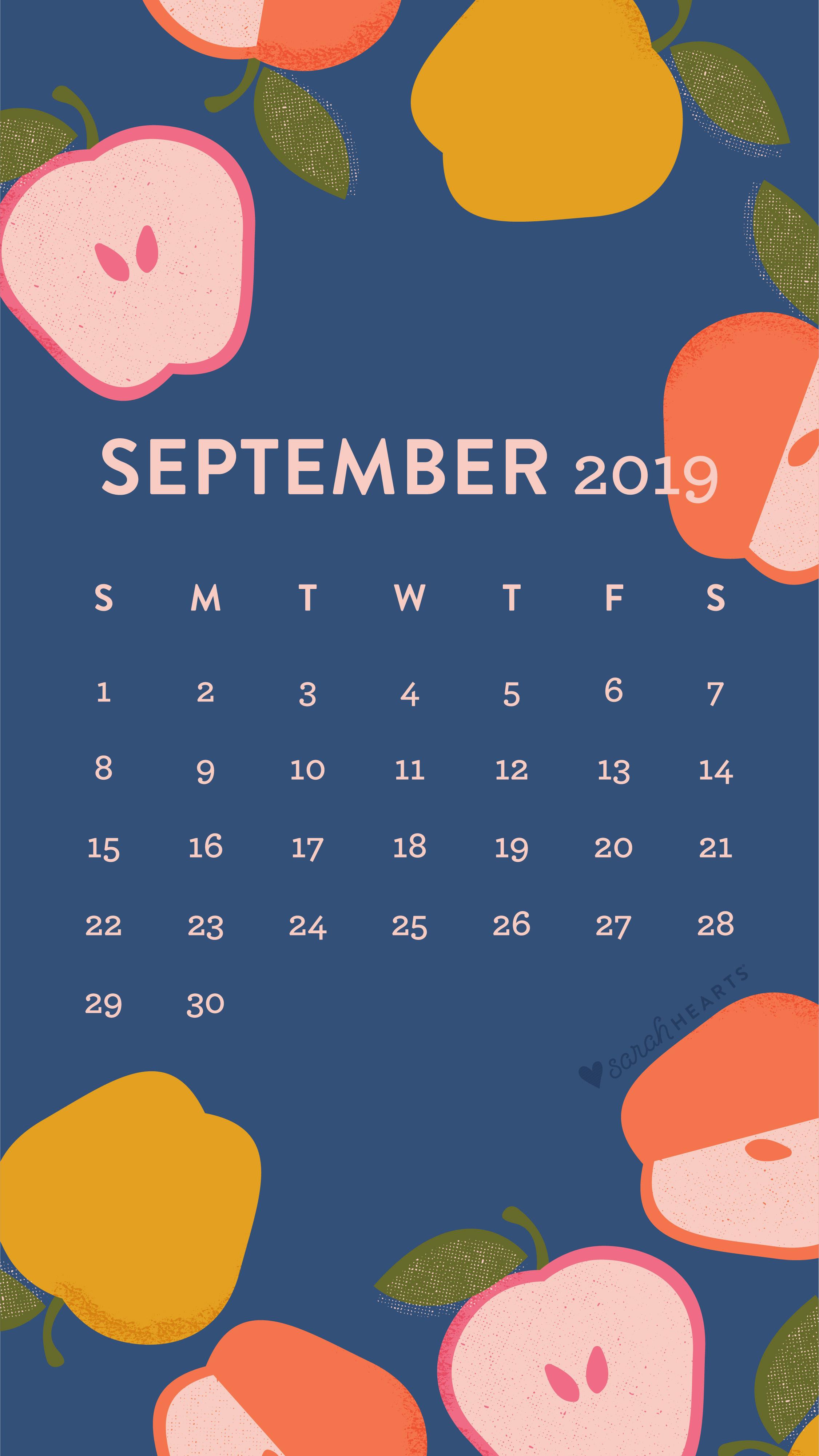 Colorful Apple September 2019 Calendar Wallpaper Sarah Hearts