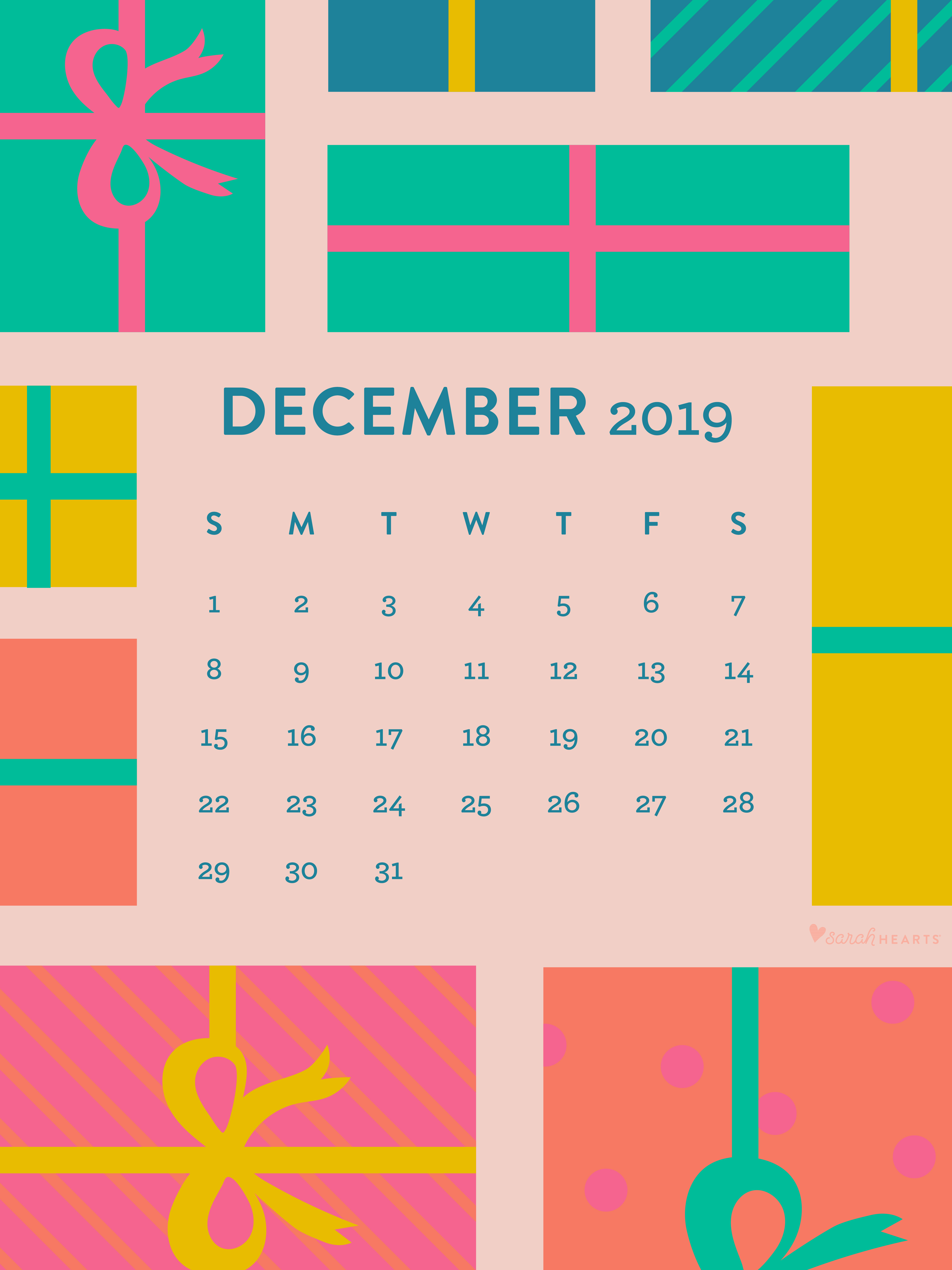 December 2019 Holiday Gift Calendar Wallpaper Sarah Hearts