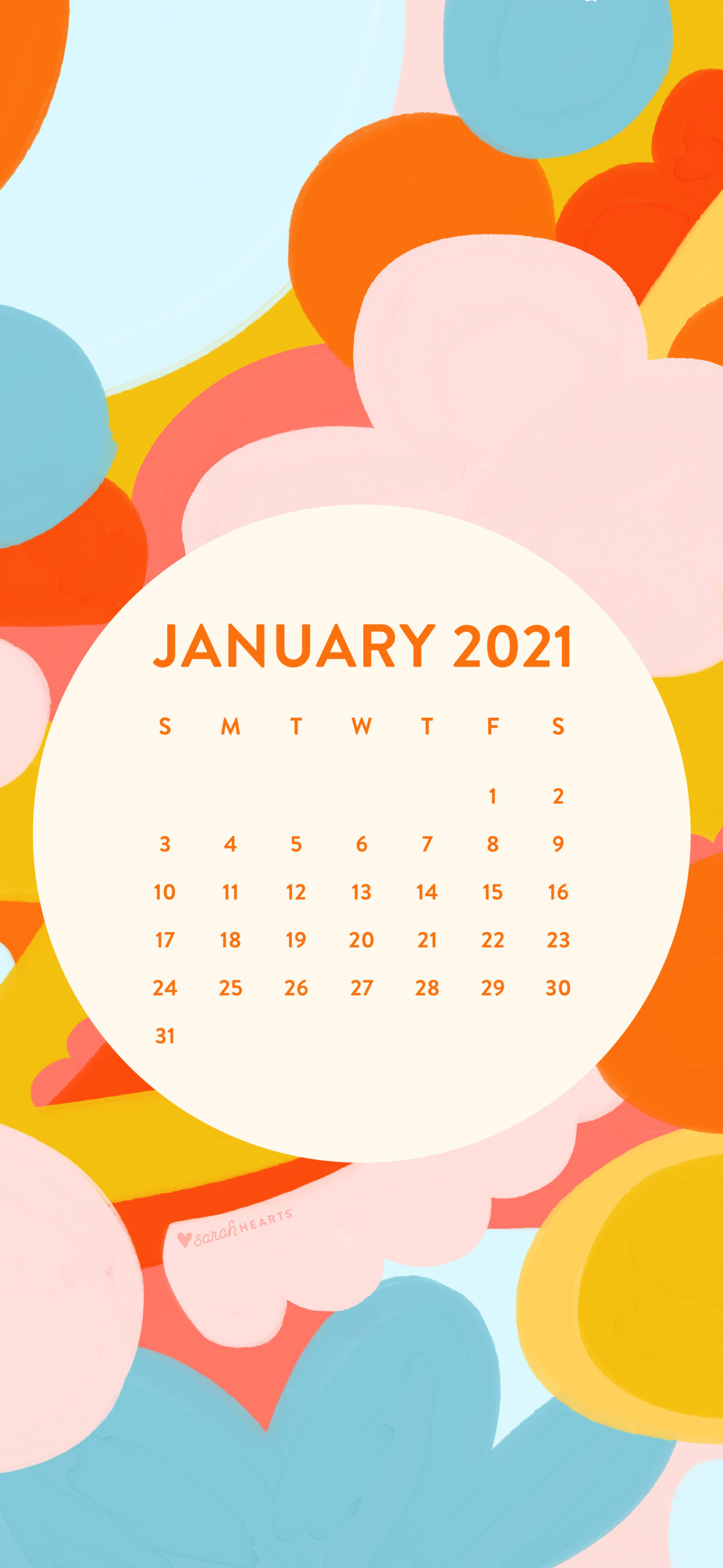January 2021 Calendar Wallpaper Sarah Hearts