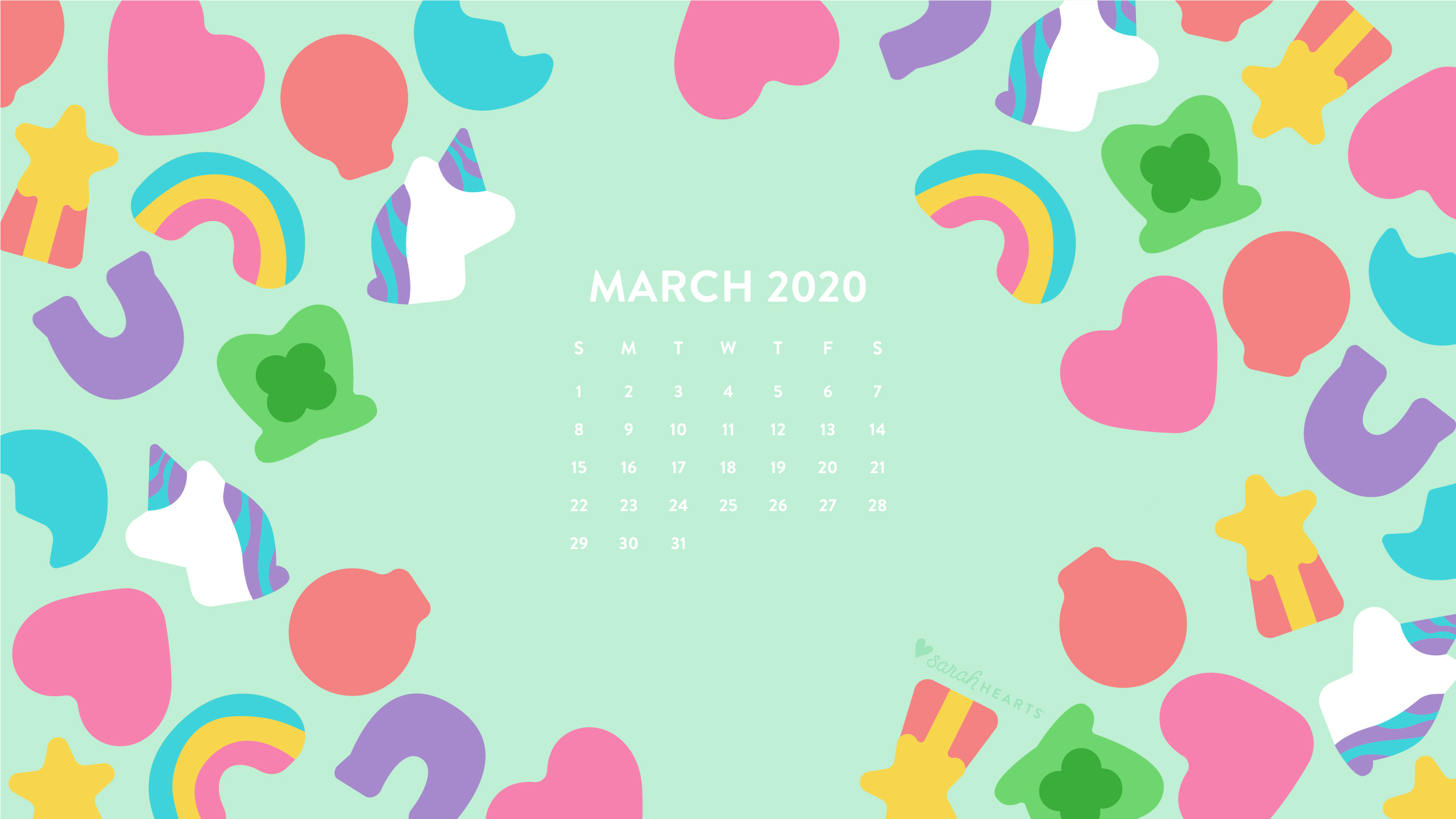 March 2020 Lucky Charms Calendar Wallpaper Sarah Hearts Awesome candy wallpaper for desktop, table, and mobile. march 2020 lucky charms calendar